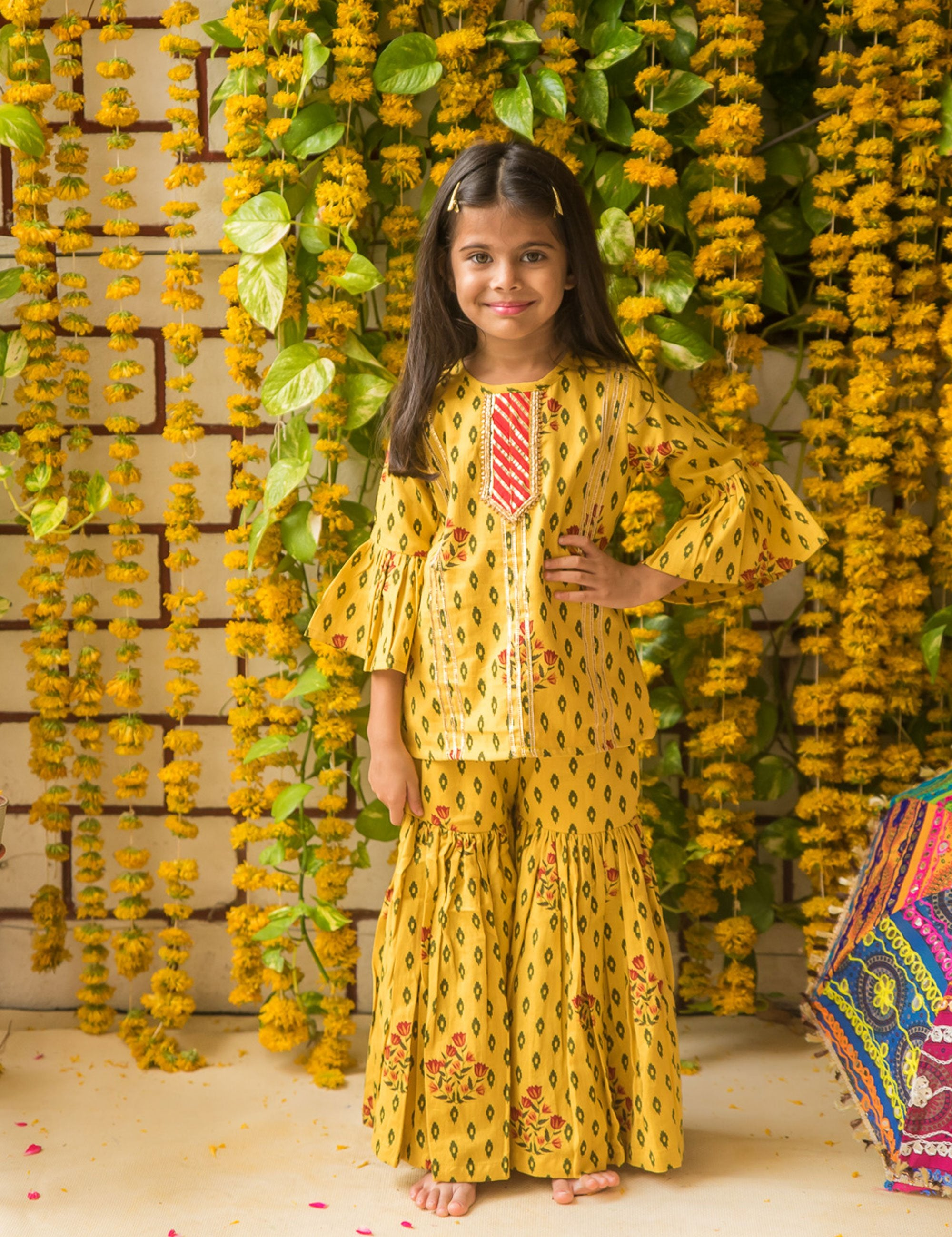 Yellow Printed Sharara with Bell Sleeves
