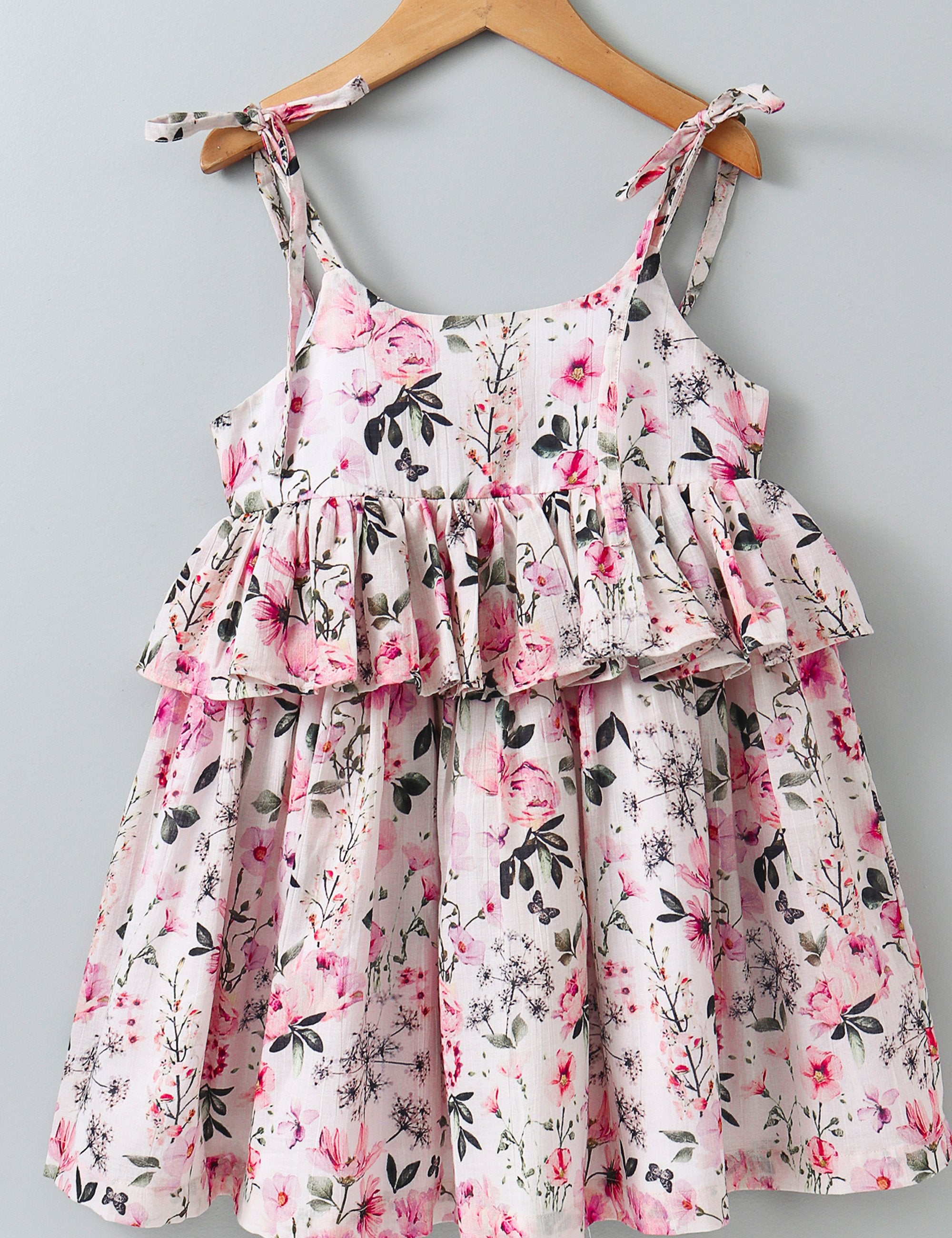 Rose Print Sleeveless Dress - Pink