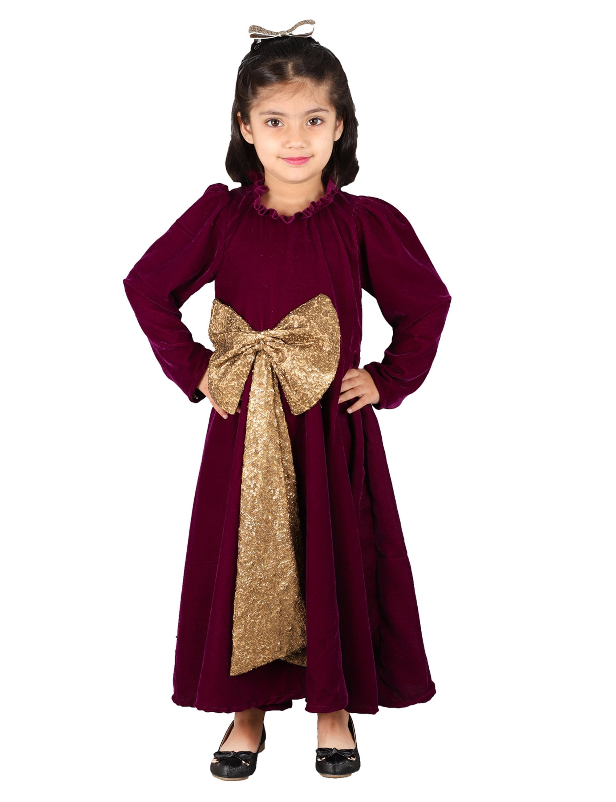 Velvet Gown with Big Bow in Front