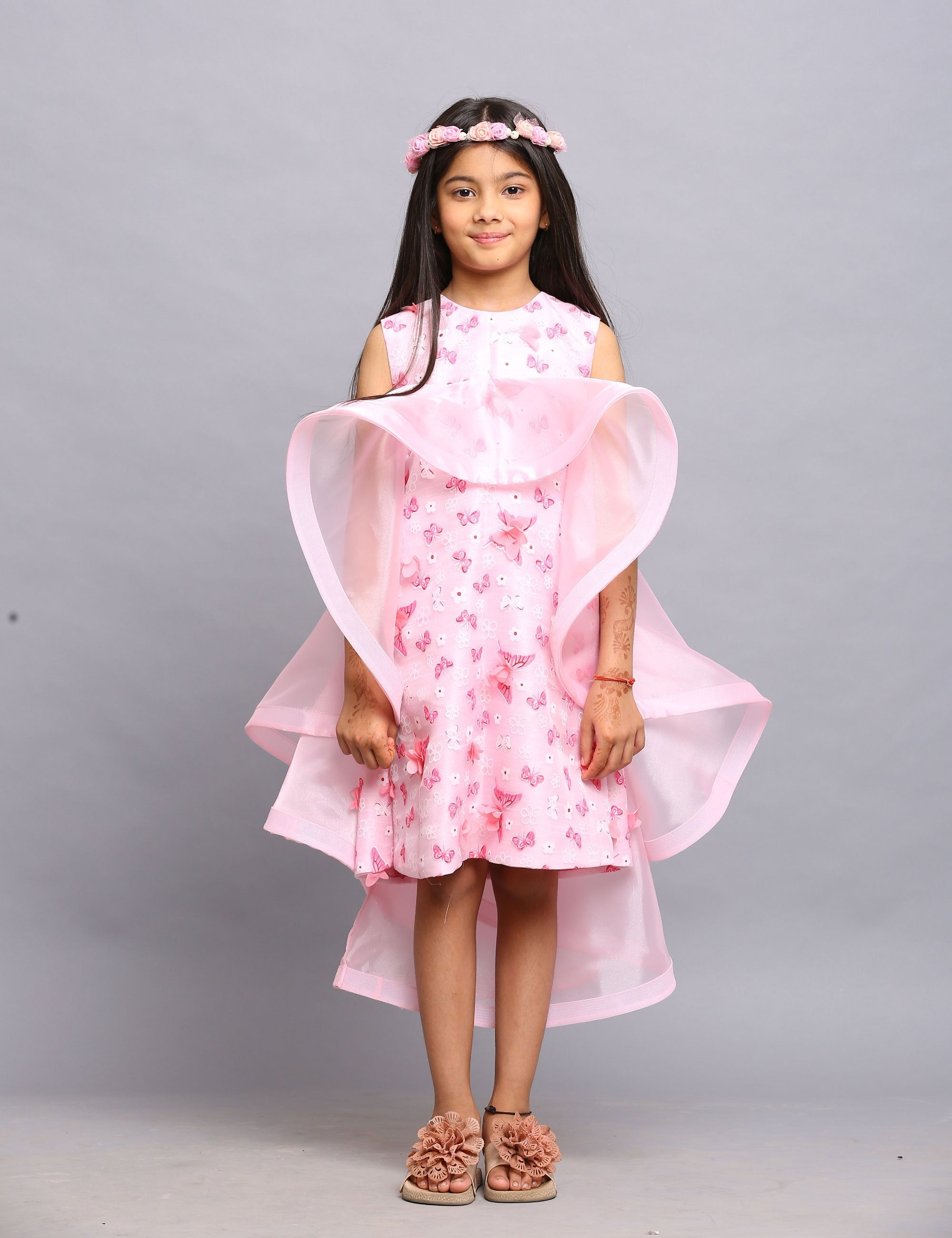 Leon Party Pink Dress with Cape