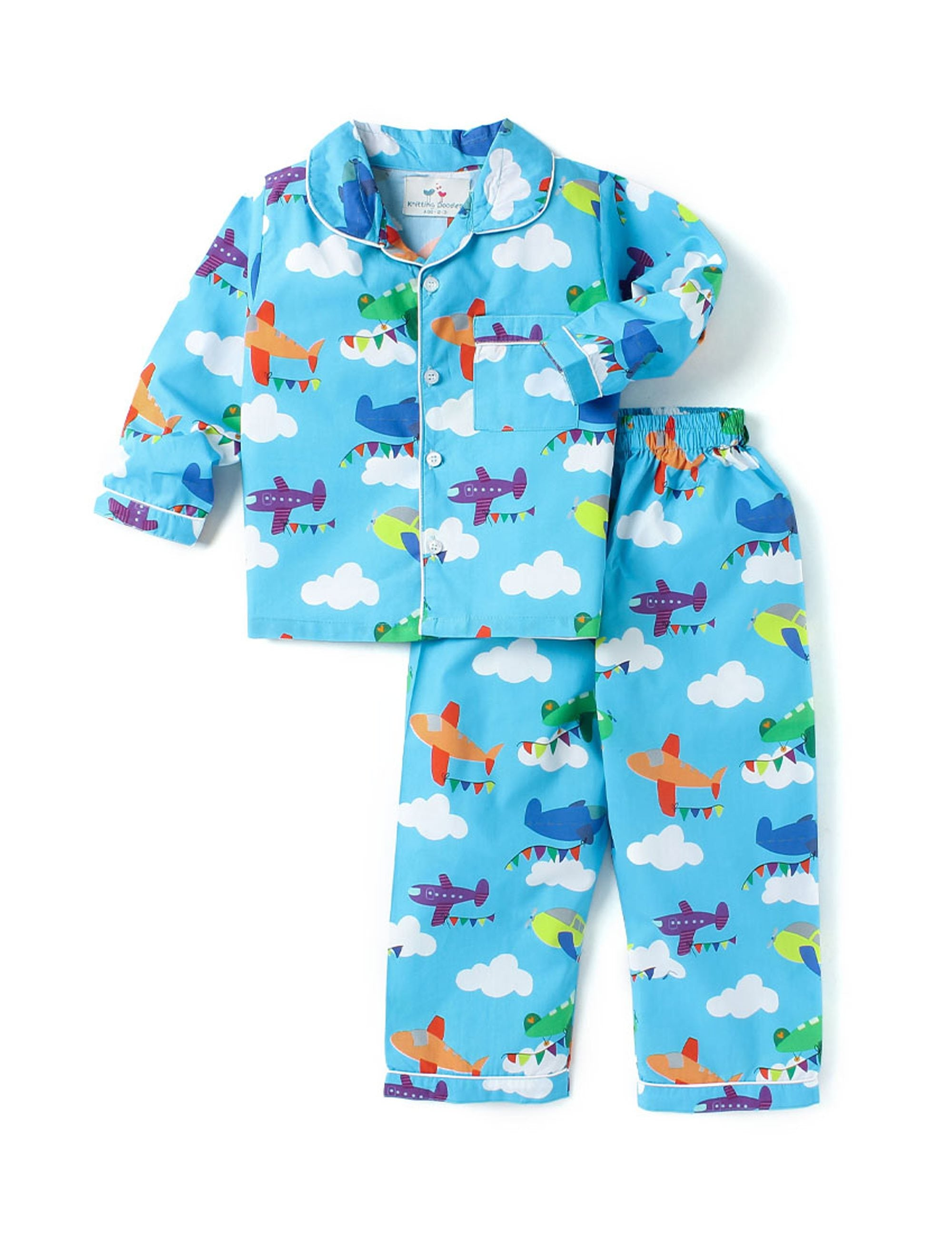 Aeroplanes Print Night Suit for Boys