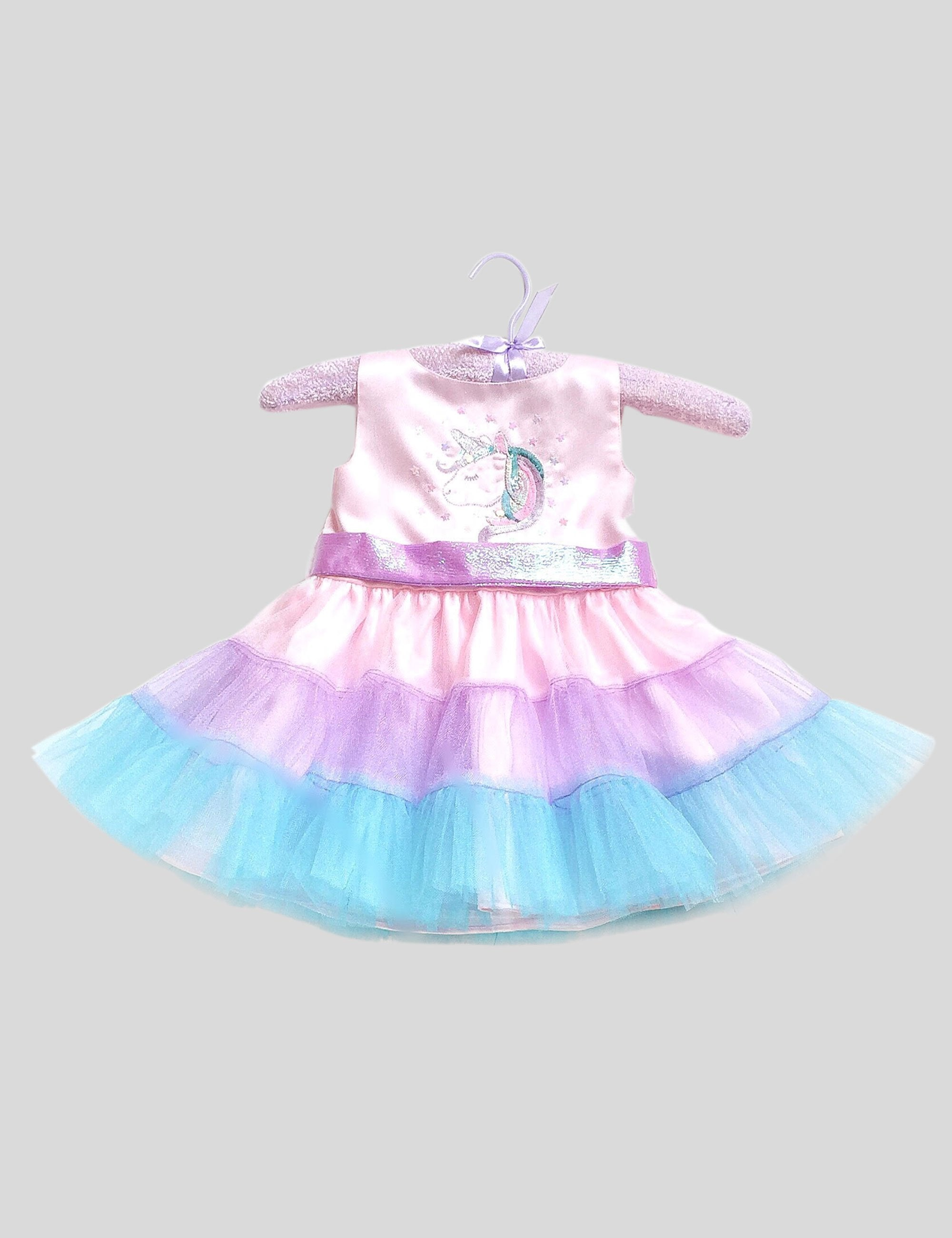 A Unicorn Dress in Multi-Colour for Girls