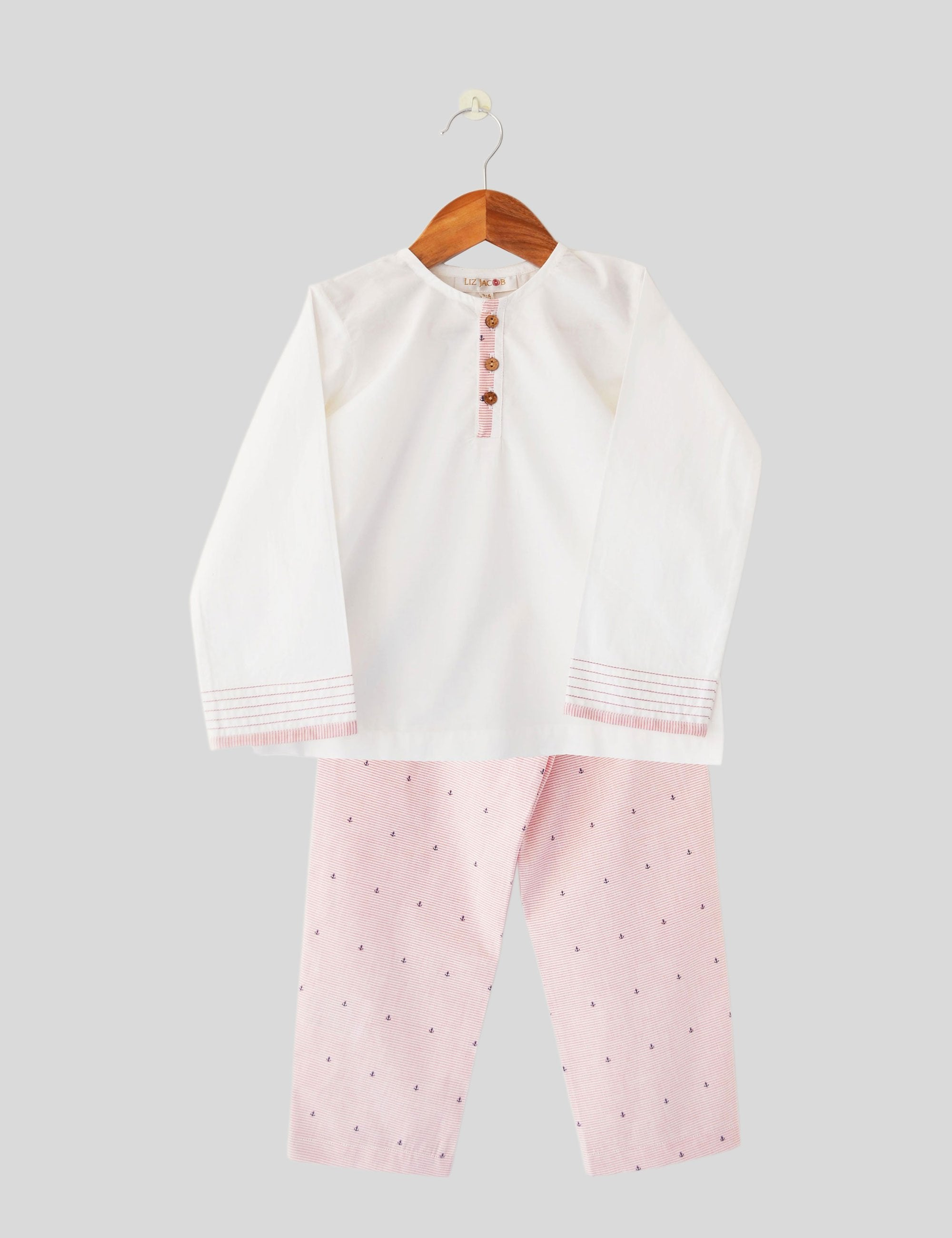 Anchor Ahoy Pink and White Night Wear for Girls