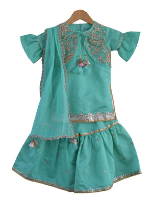 Kurti with Sharara in Green Colour for Girls