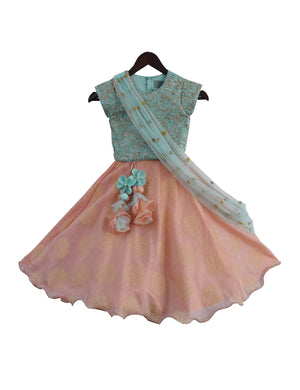 Lehenga Choli with Dupatta in Blue & Peach Colour for Girls
