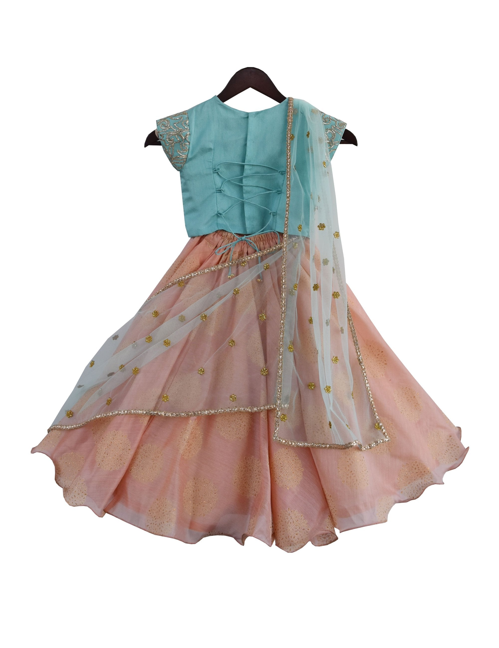 Lehenga Choli with Dupatta in Blue and Peach Colour for Girls