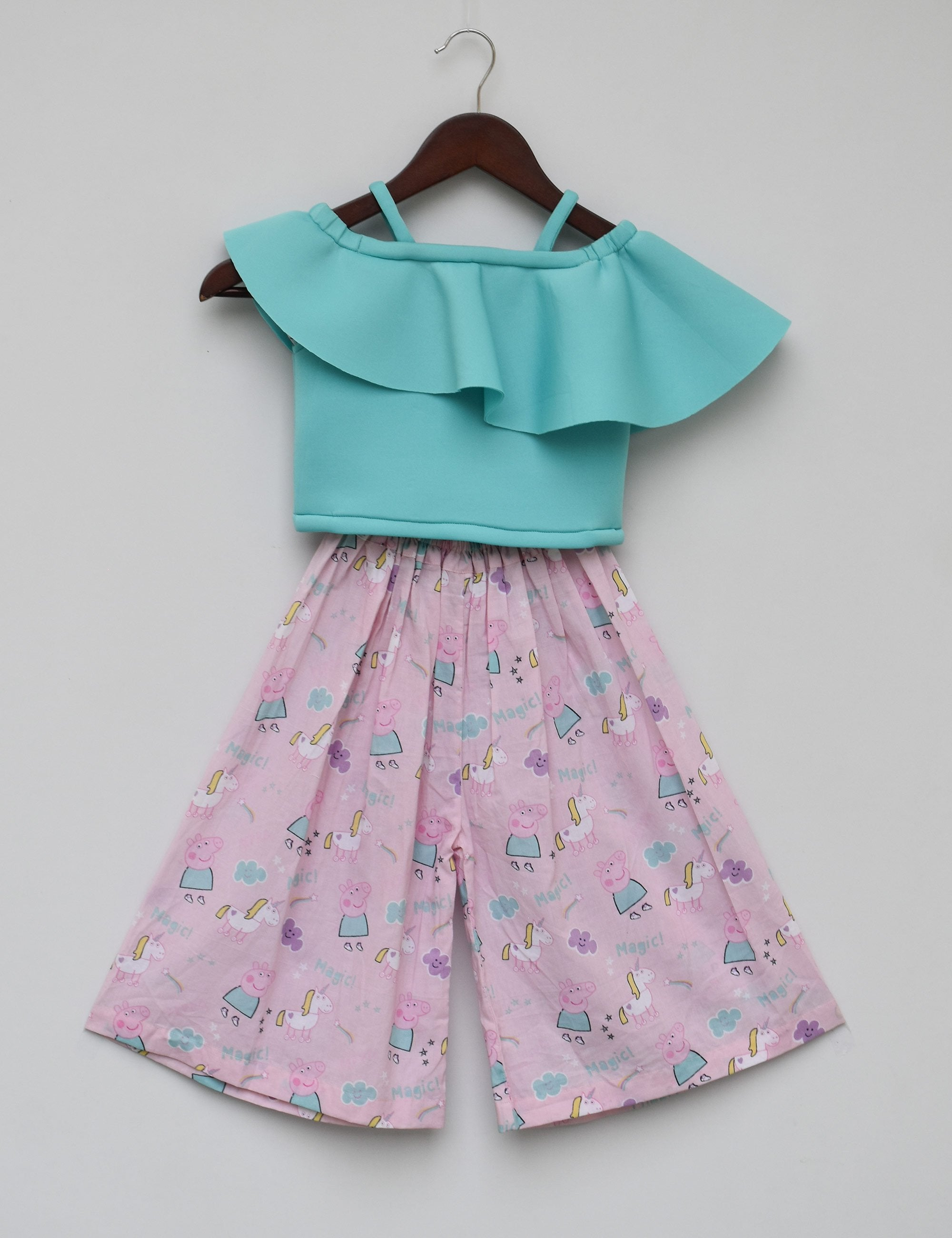 Aqua Blue Top with Printed Pallazo for girls