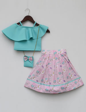 Aqua Blue Crop Top with Printed Skirt for girls