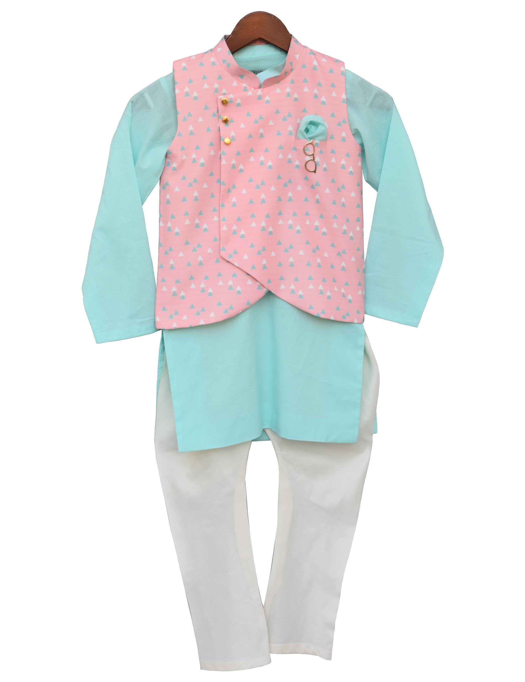 Aqua Kurta with Peach Printed Nehru Jacket Set