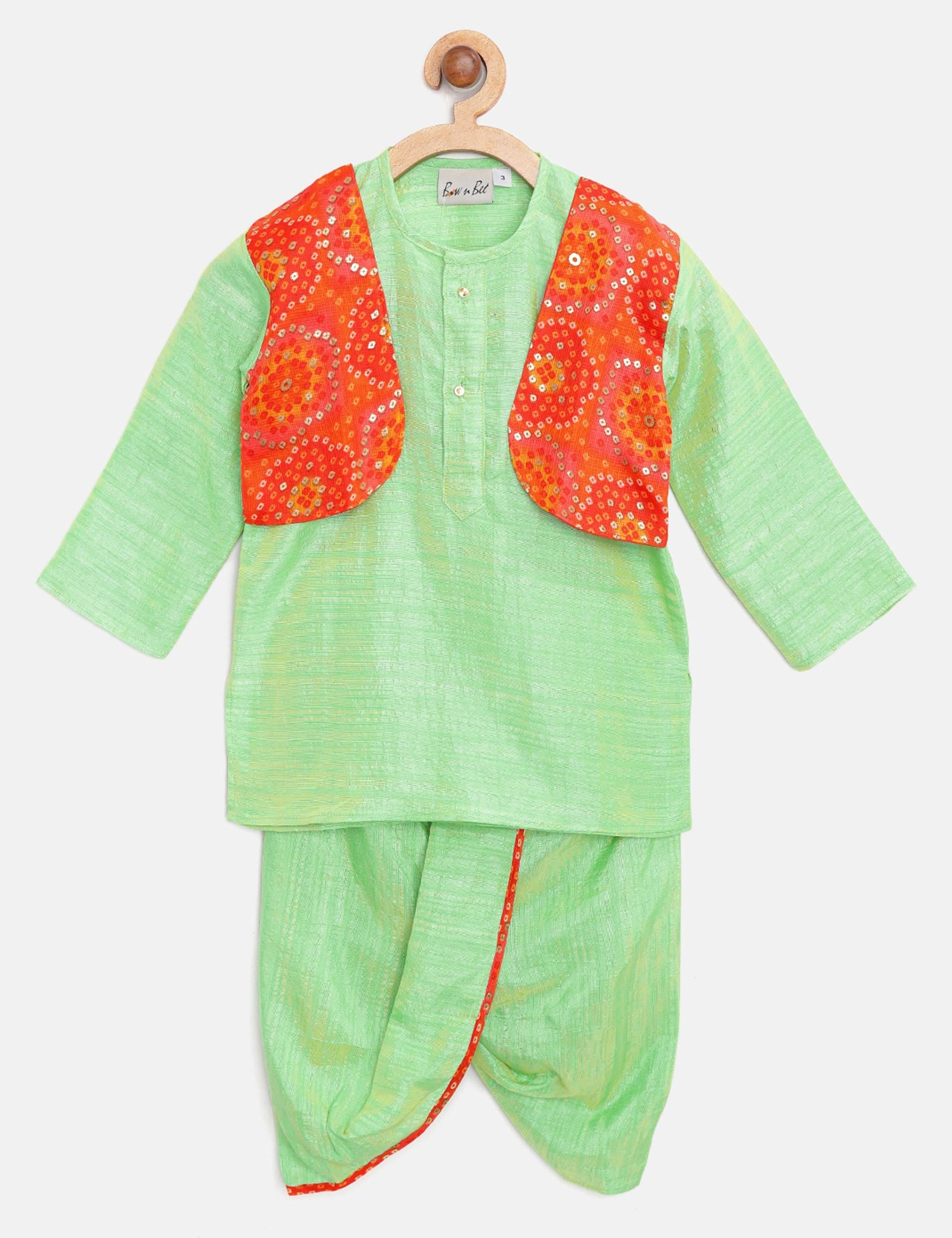 Bandhani Print Attached Jacket Dhoti Kurta- Green