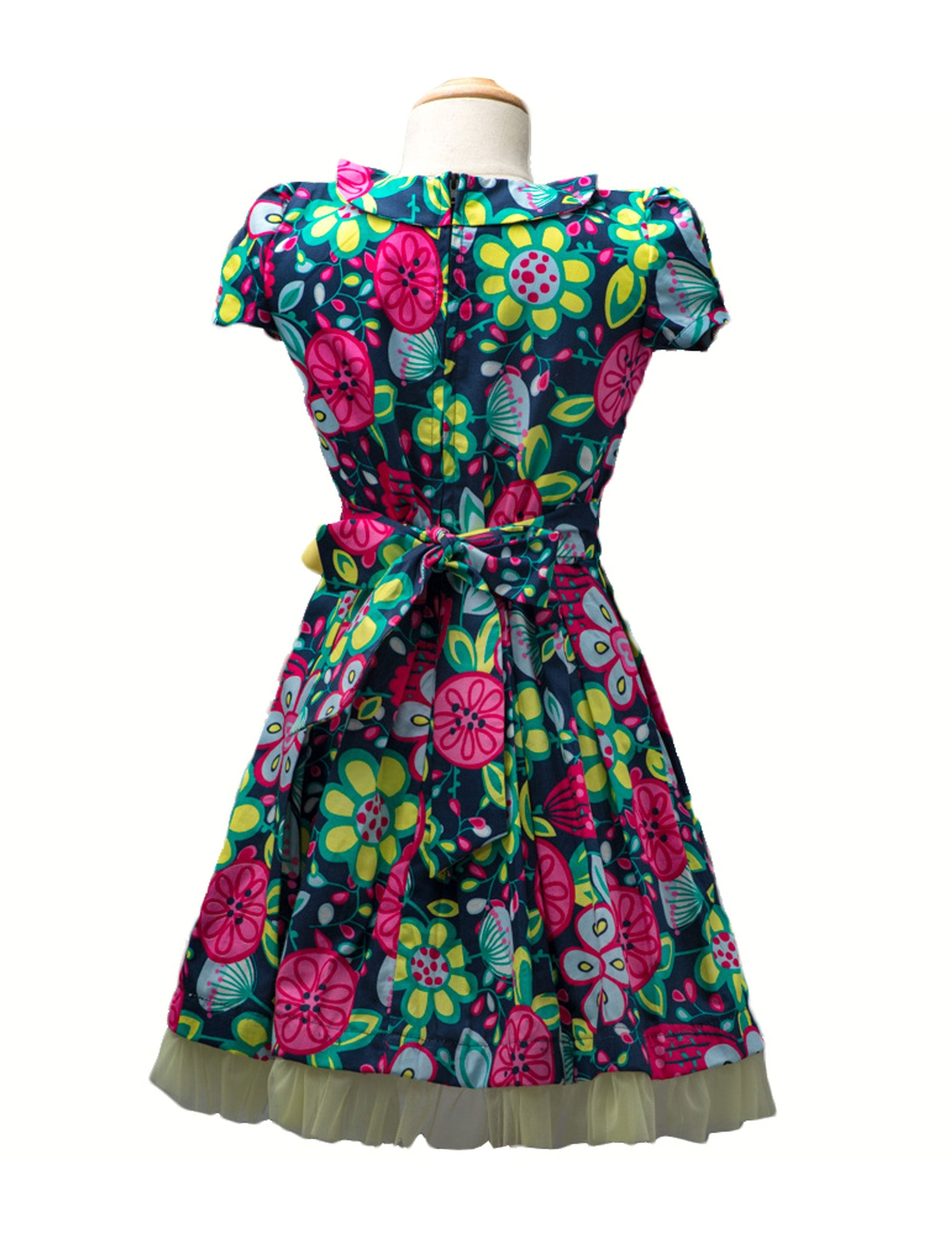 Multi-Coloured Printed Pleated Dress with Yellow Bow for Girls