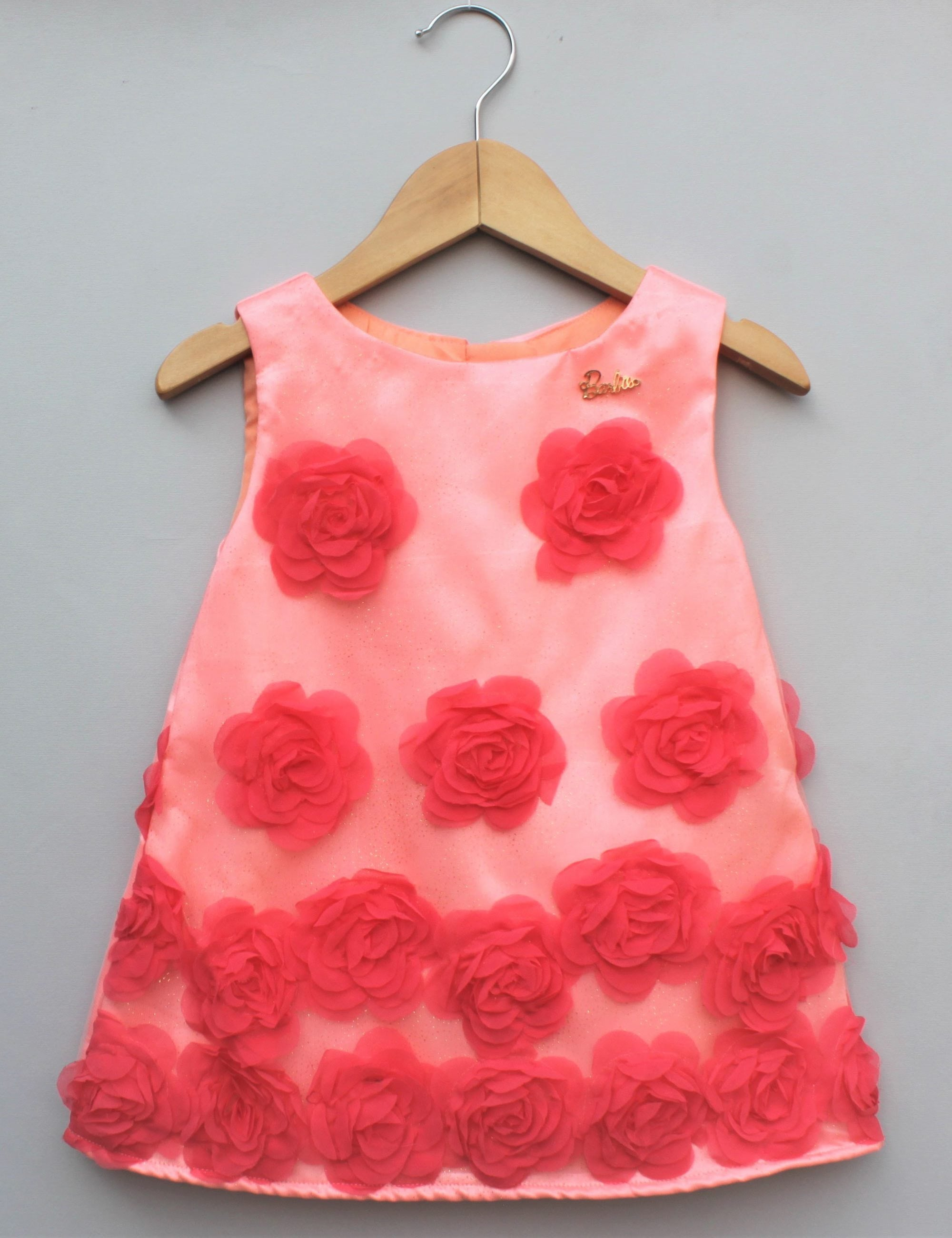 3D pink rose party dress