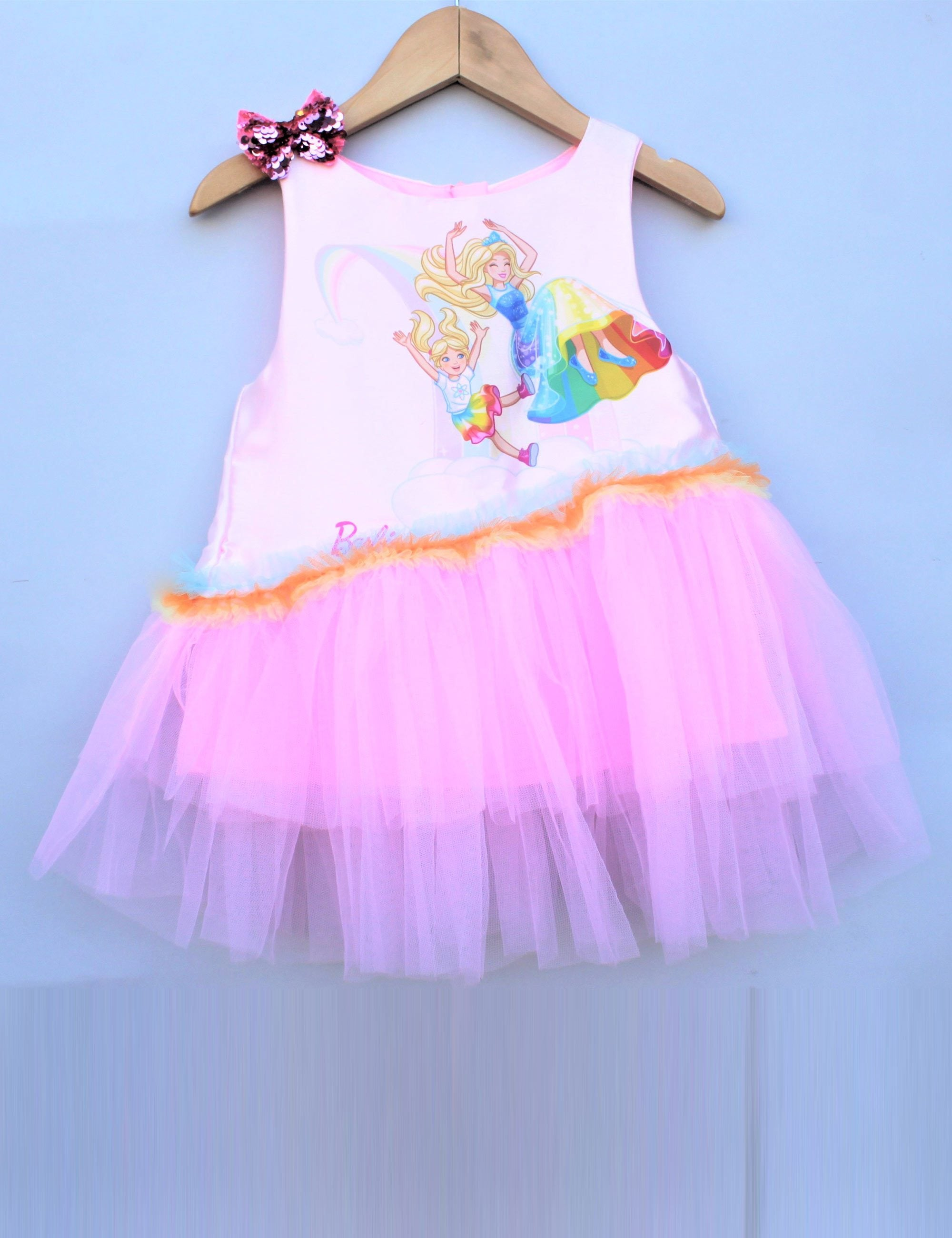 rainbow cove barbie and chelsa pink party dress
