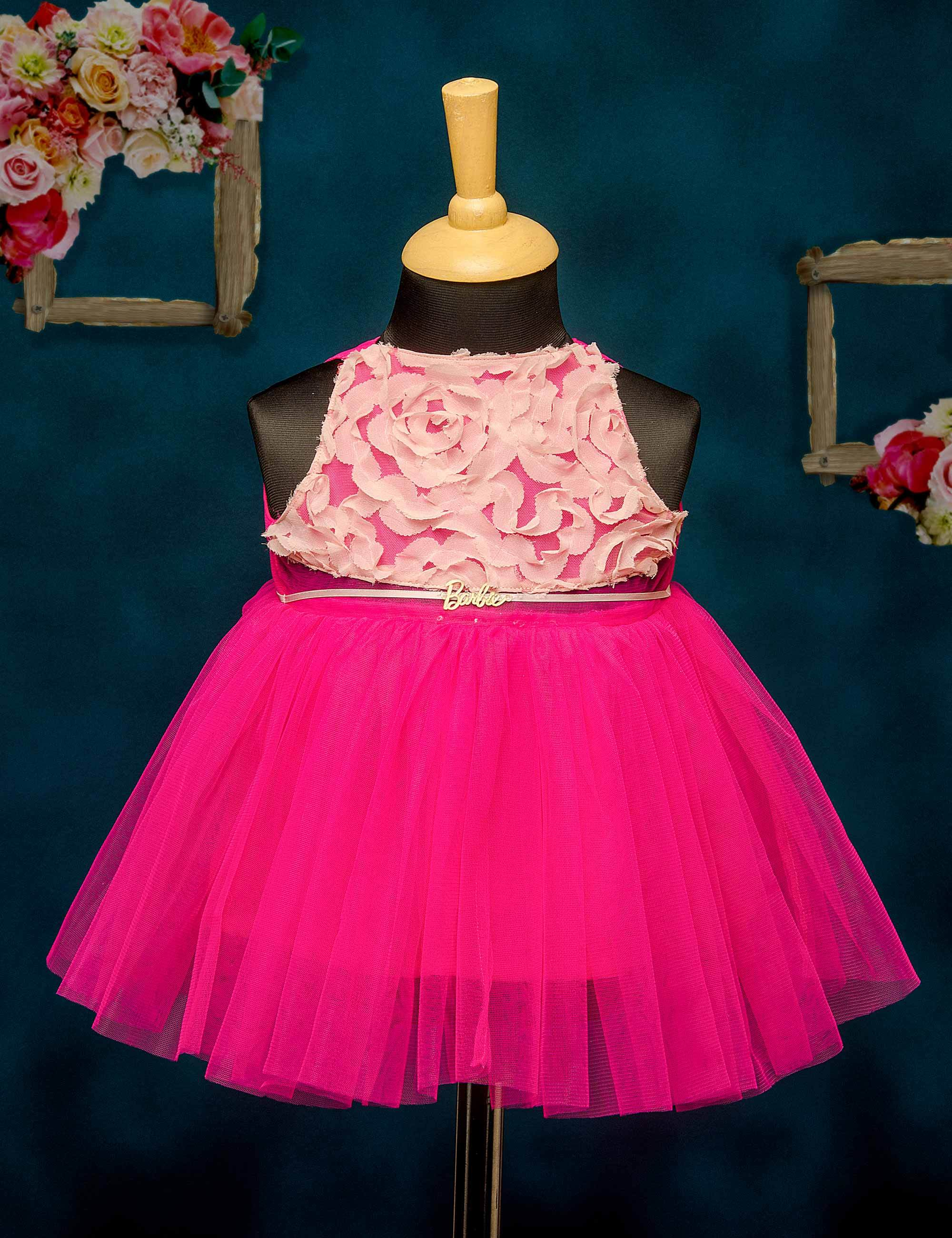 Pink bodice and magenta party frock