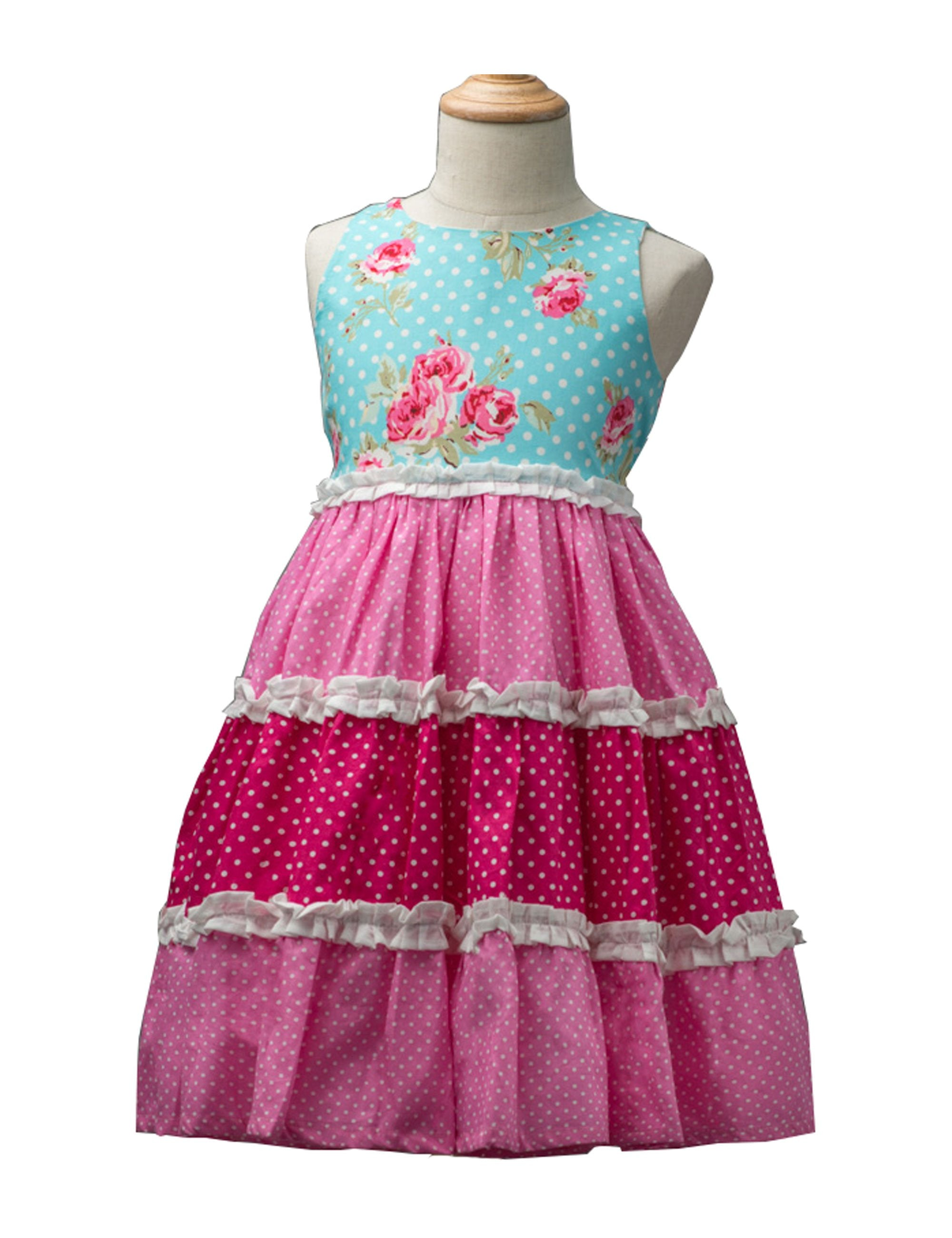 Sleeveless Tiered Cotton Dress in Blue and Pink for Girls