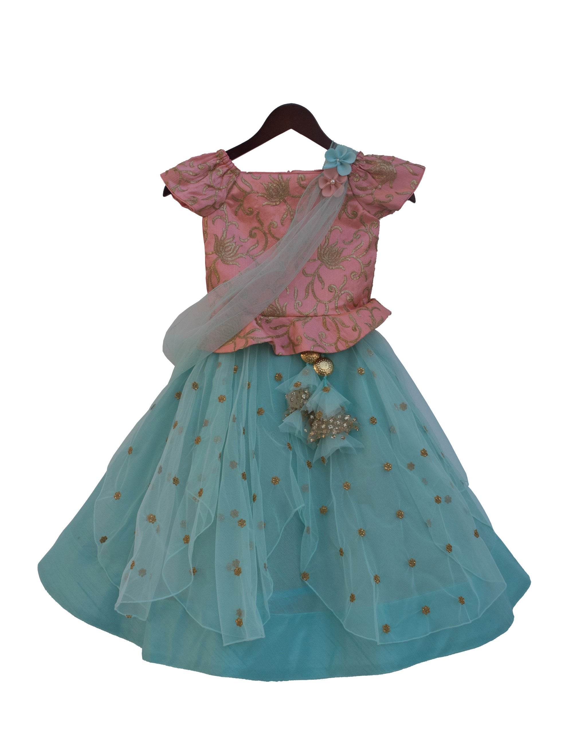 Choli with Lehenga in Pink & Blue Colour for Girls