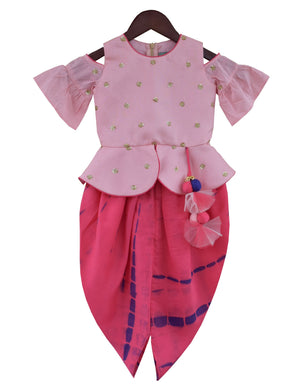 Choli with Dhoti in Pink Colour for Girls