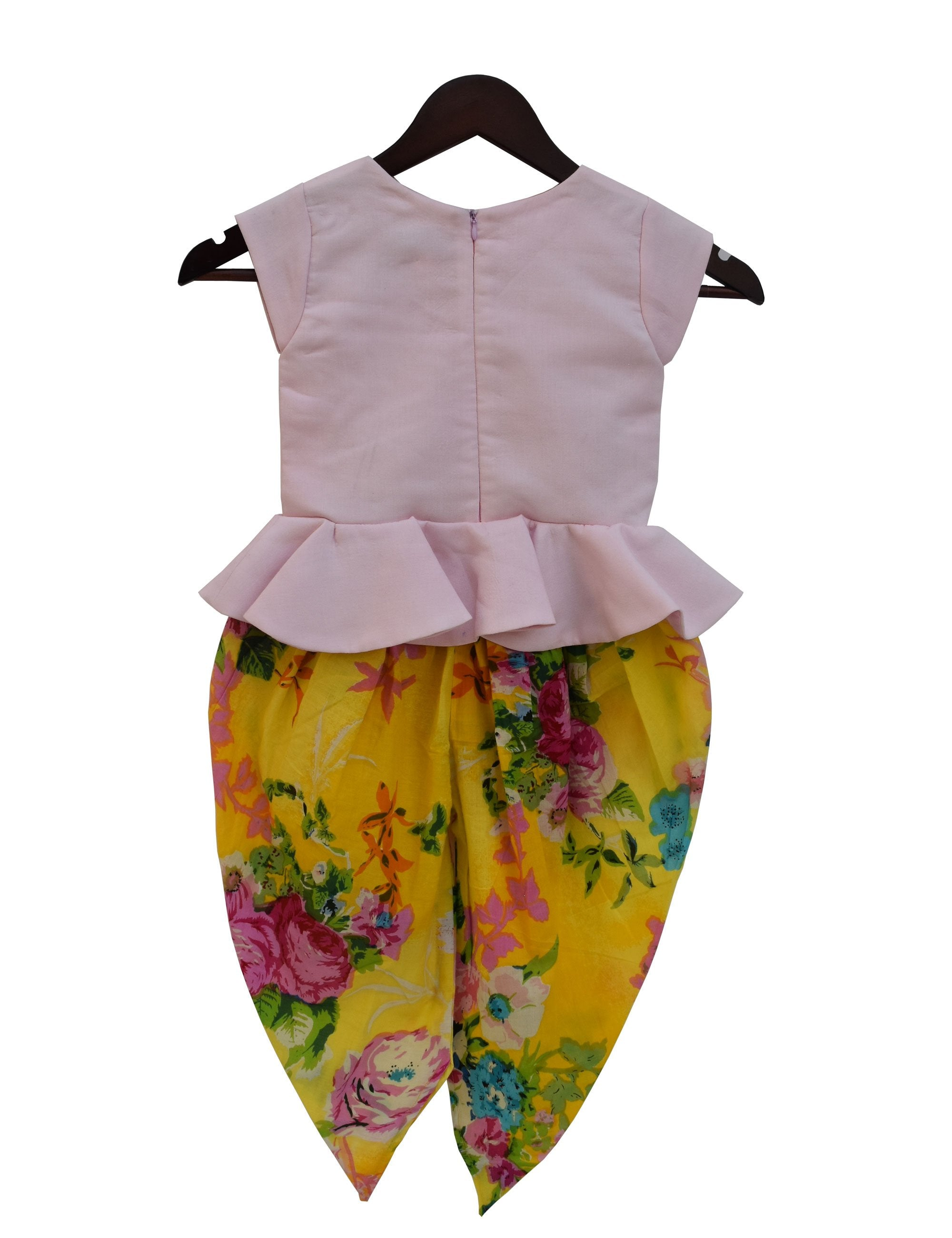 Choli with Dhoti in Yellow and Pink Colour for Girls