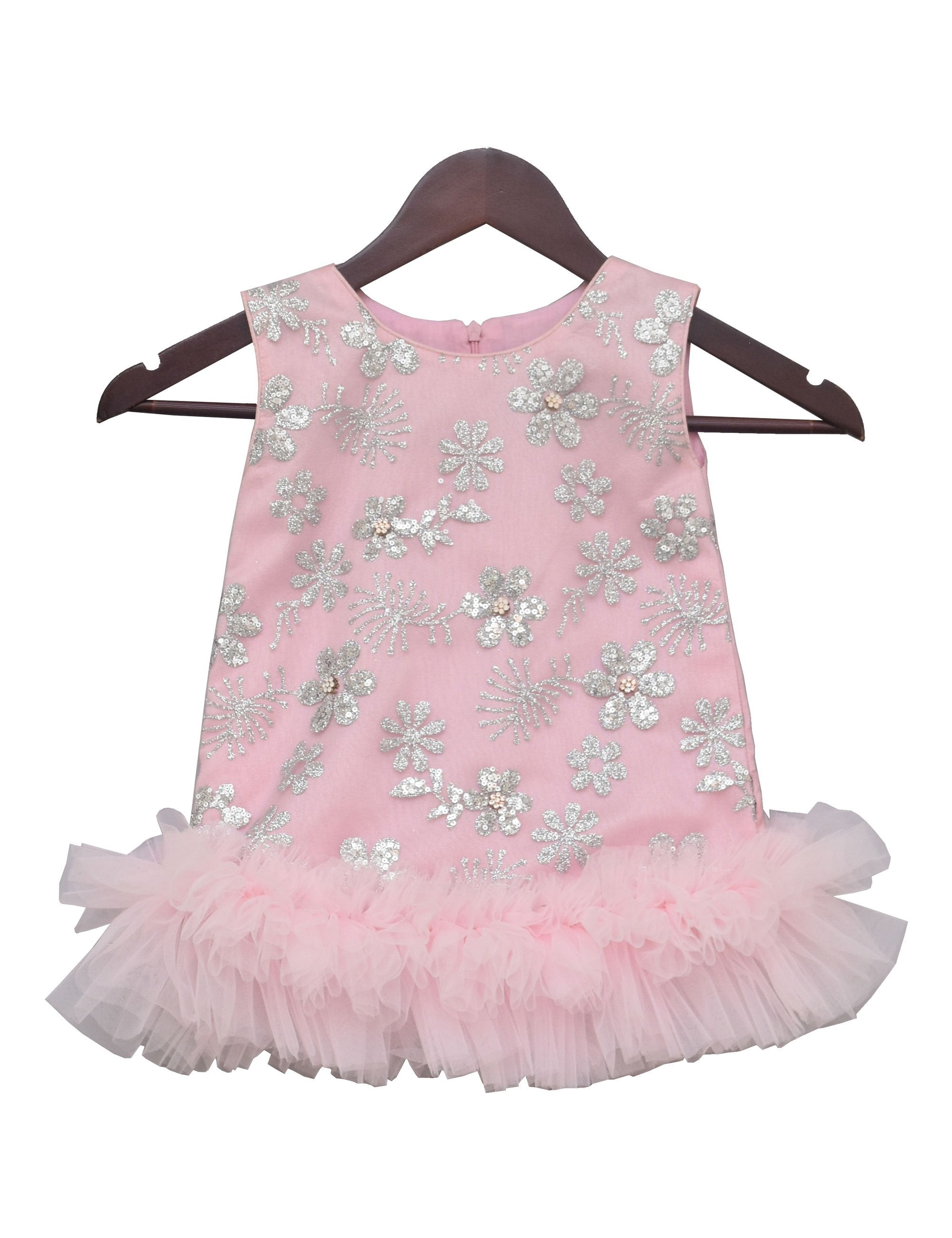 Baby Pink Embroidered Partywear Dress