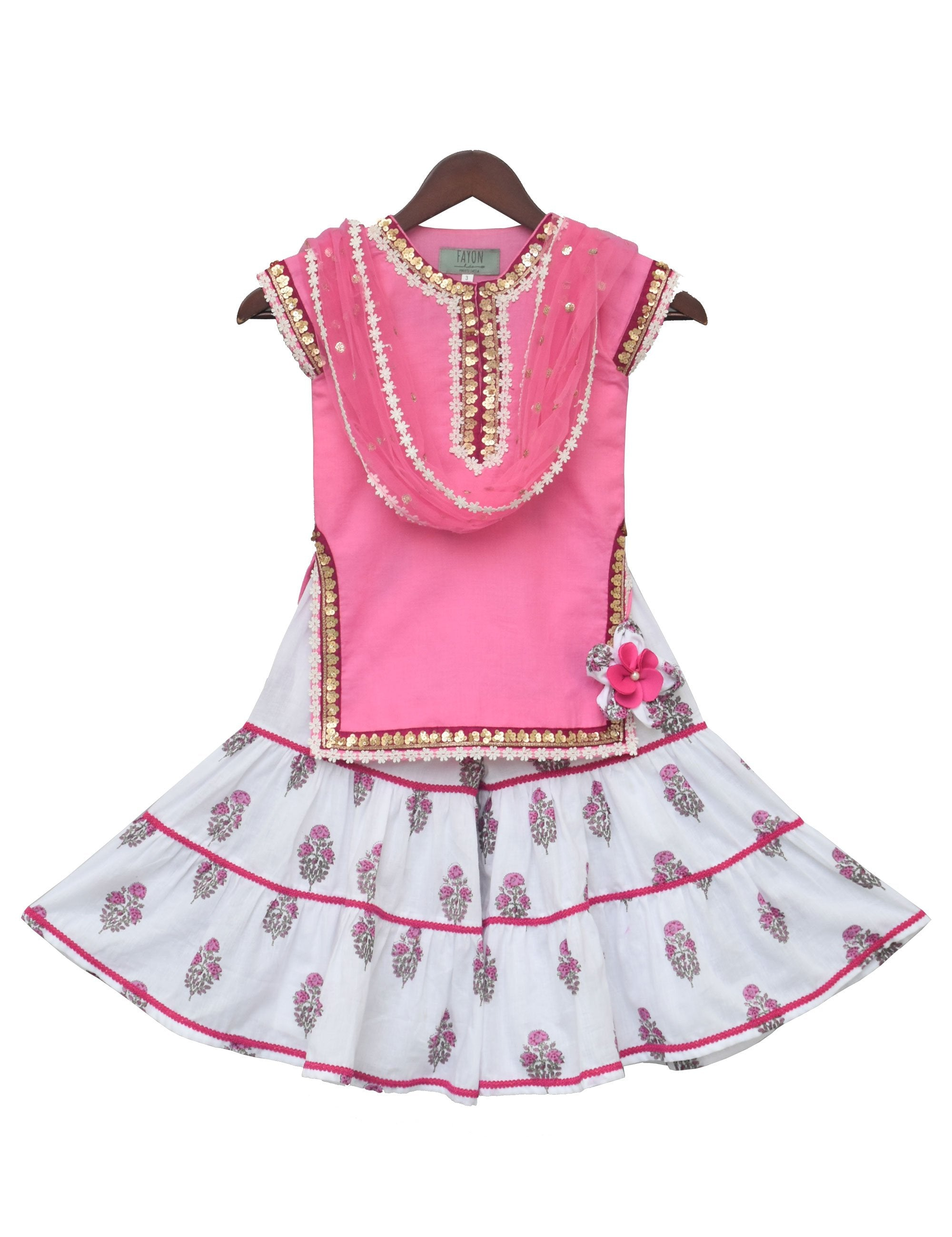 Baby Pink Kurti with Printed Sharara