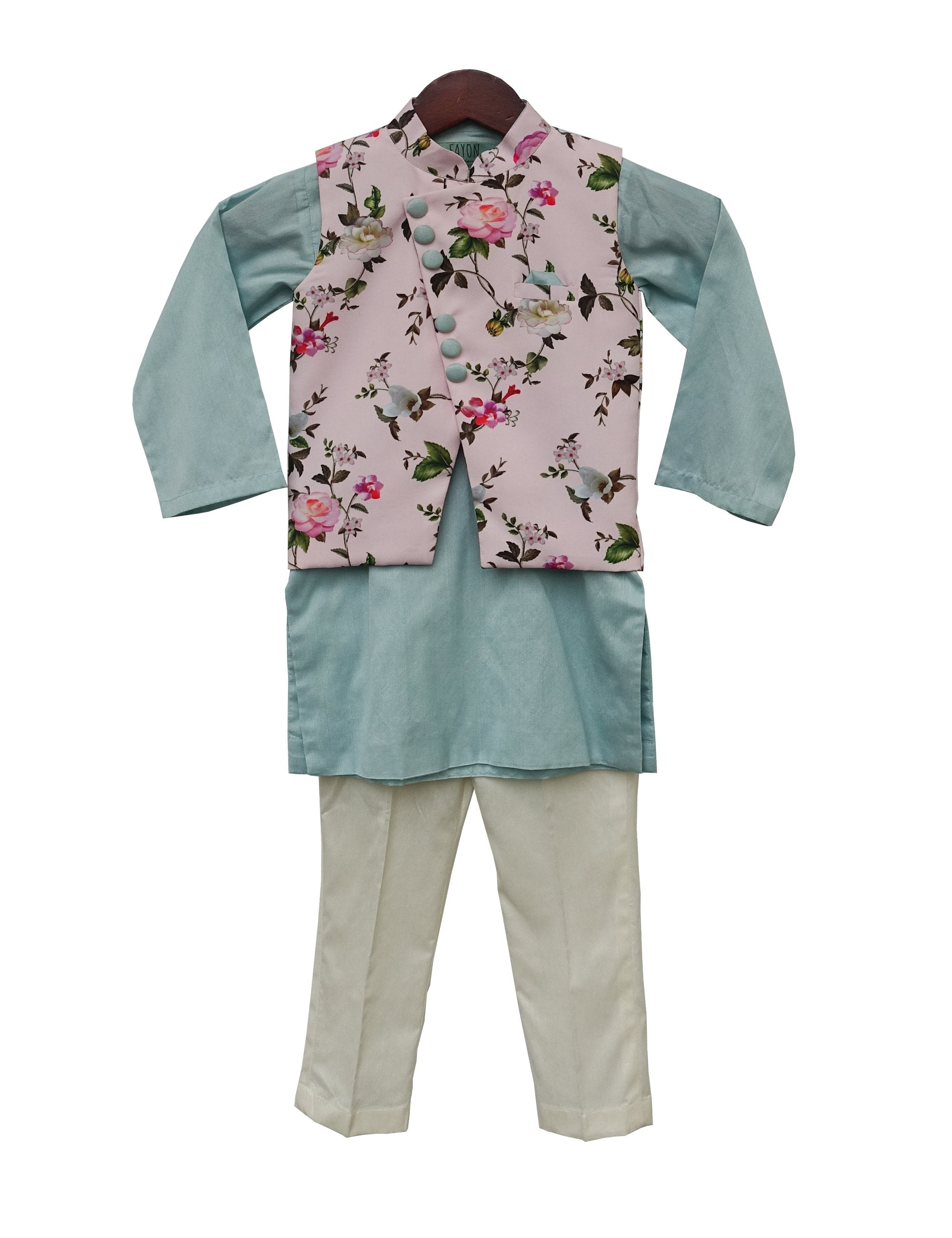 Baby Pink Printed Kurti with Ice Blue Kurta & Pant