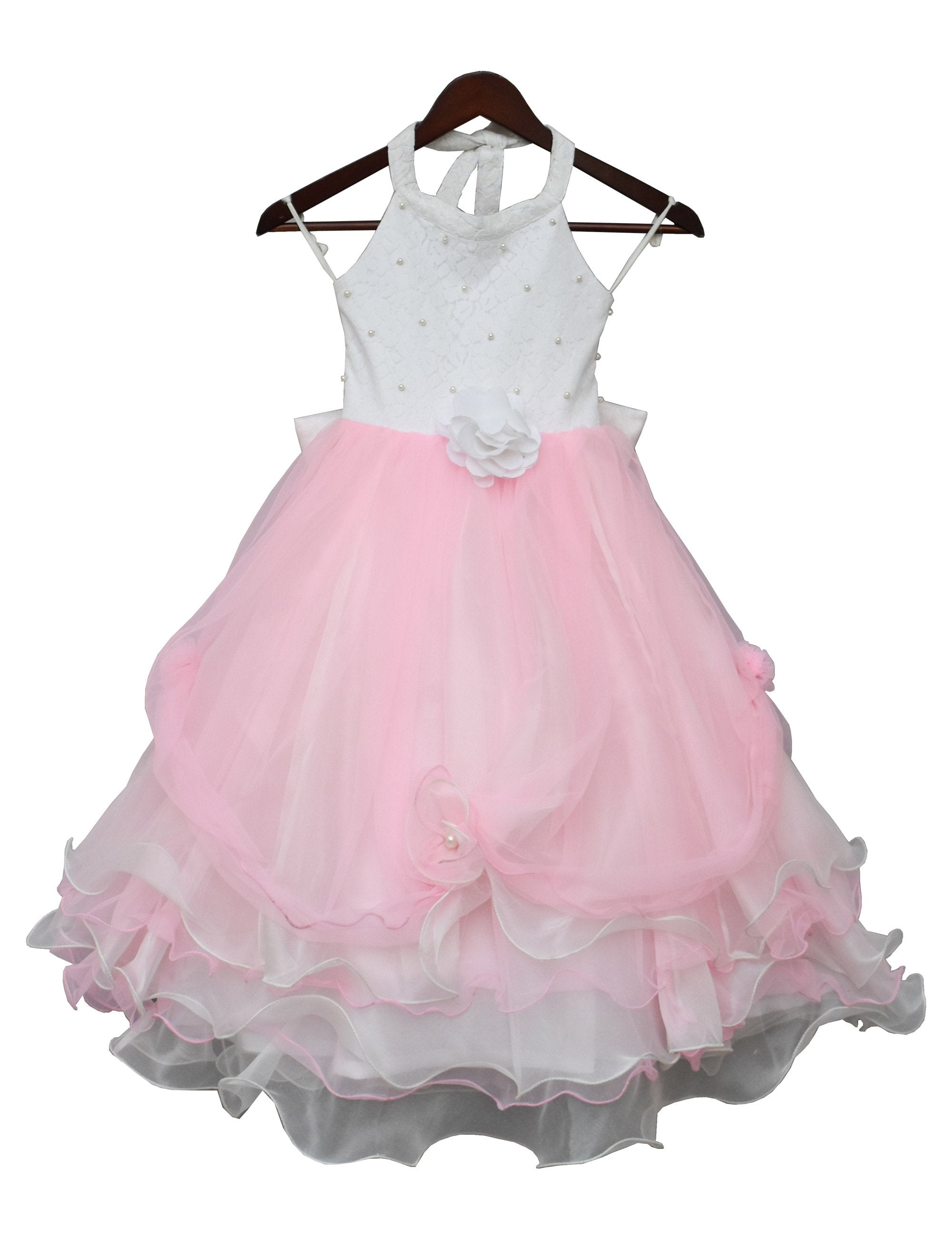 Baby Pink and White Organza Gown