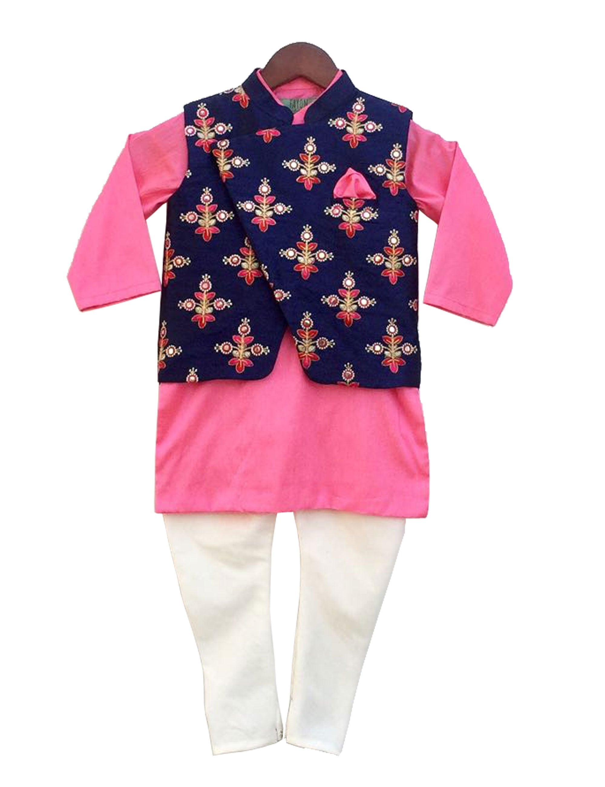 Embroidery Nehru Jacket with Kurta and Churidaar in Blue and Pink Colour for Boys