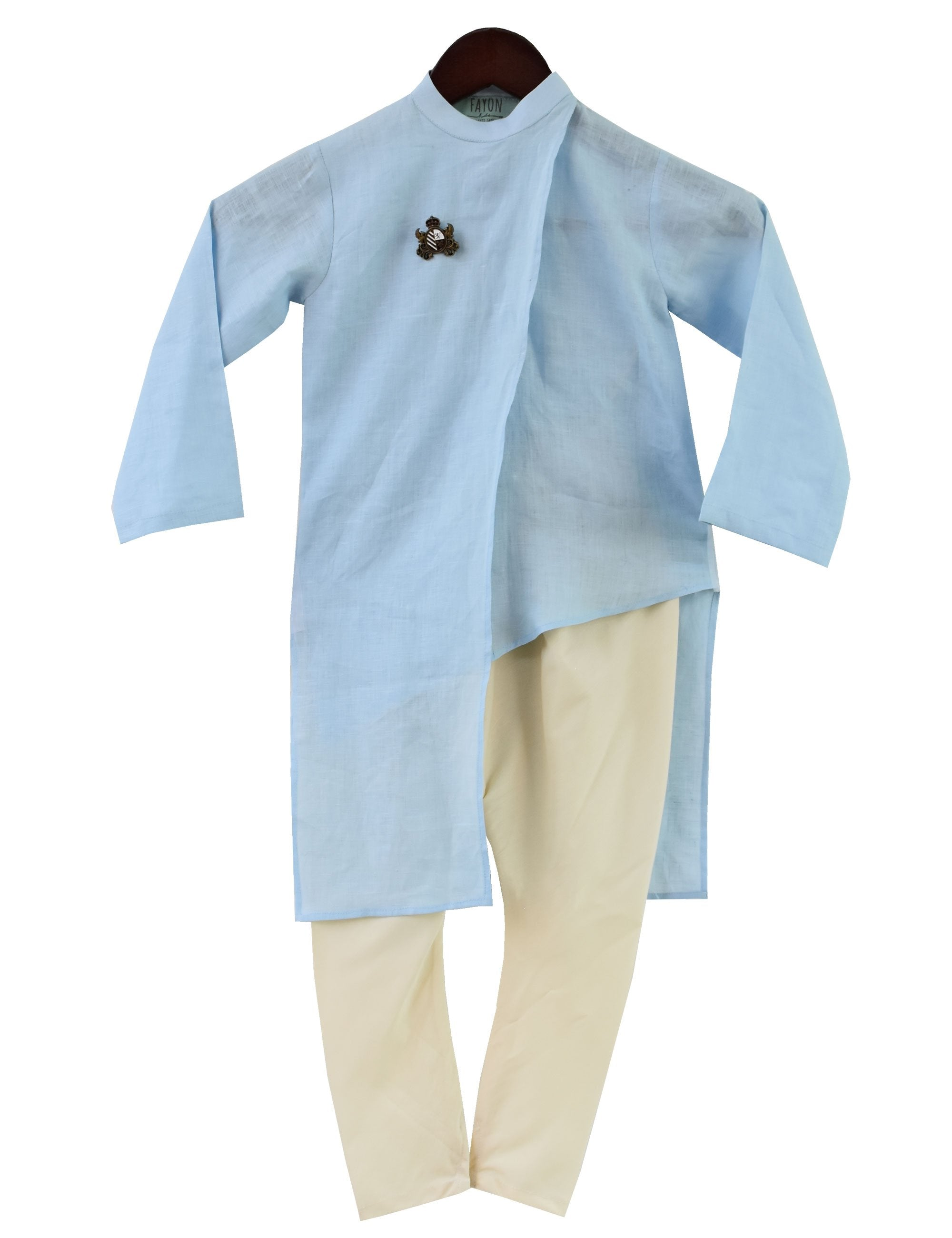 Kurta with Churidaar in Blue and White Colour for Boys