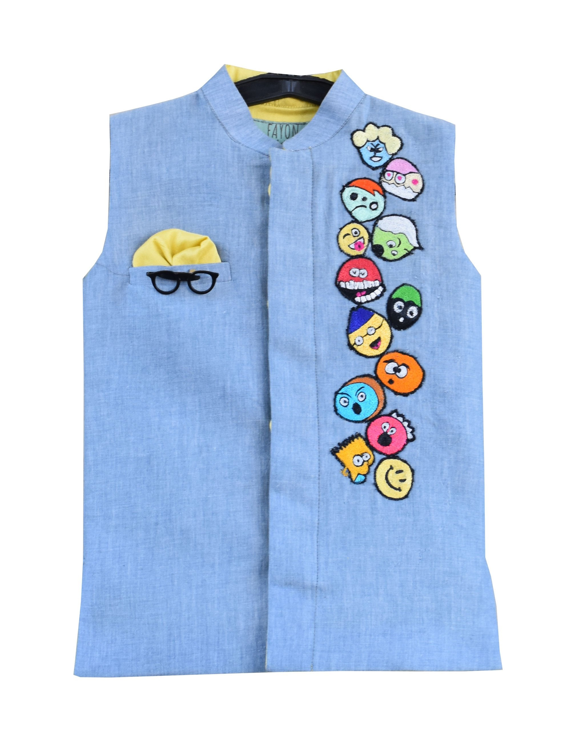 Linen Nehru Jacket with Patches in Pink Colour for Boys
