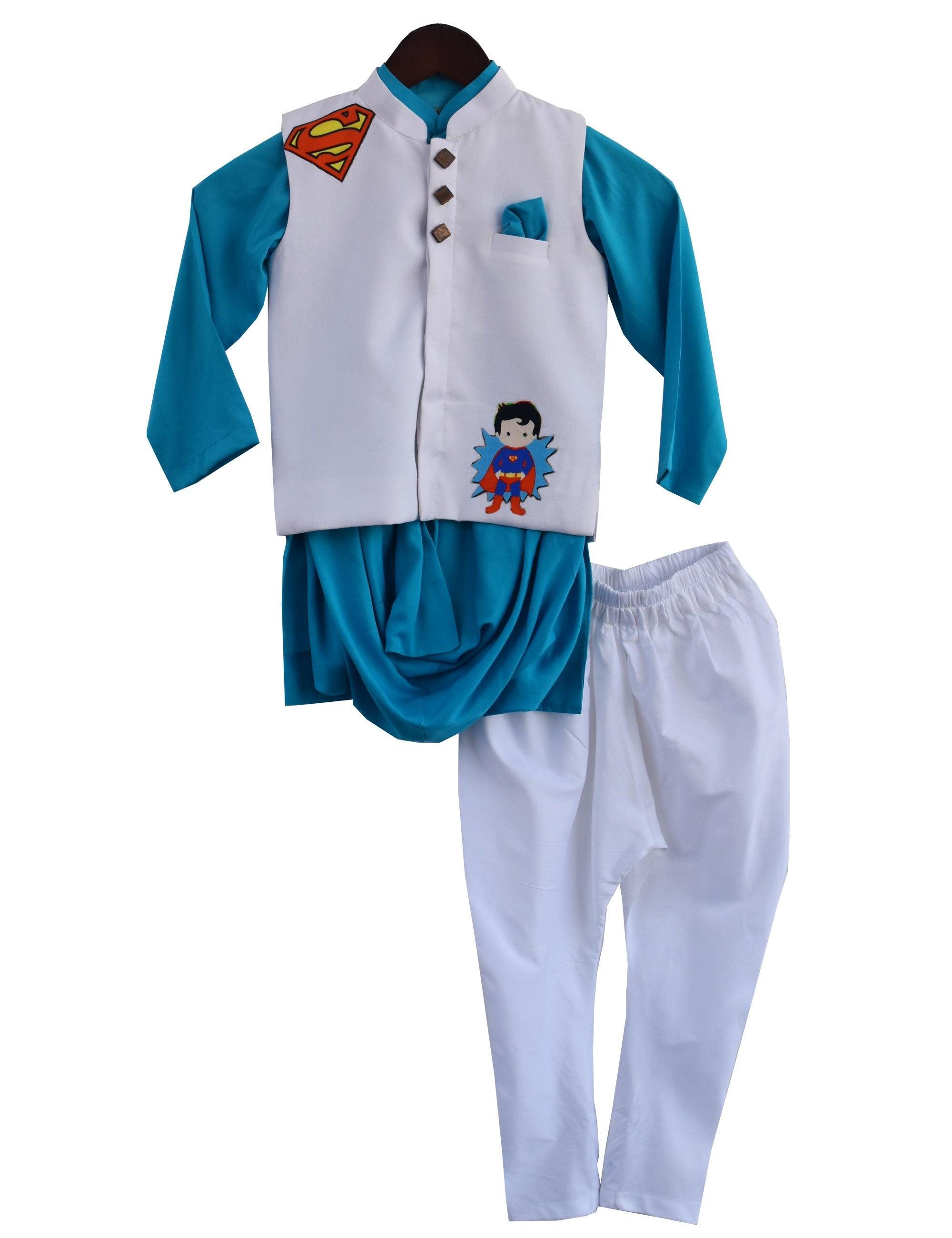 Cowl Kurta with Nehru Jacket Set in Blue Colour for Boys
