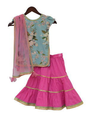 Printed Kurti with Sharara in Blue & Pink Colour for Girls