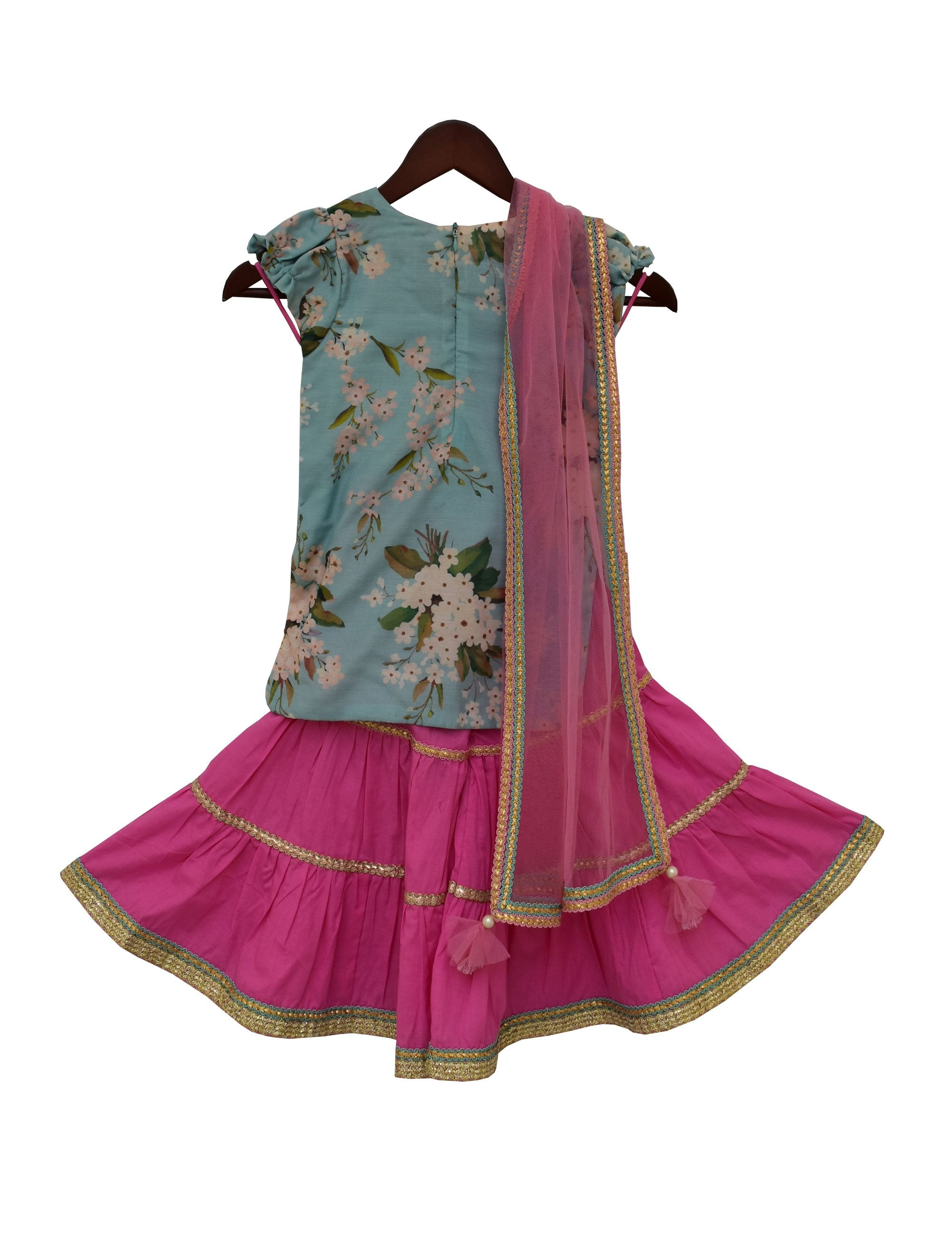 Printed Kurti with Sharara in Blue and Pink Colour