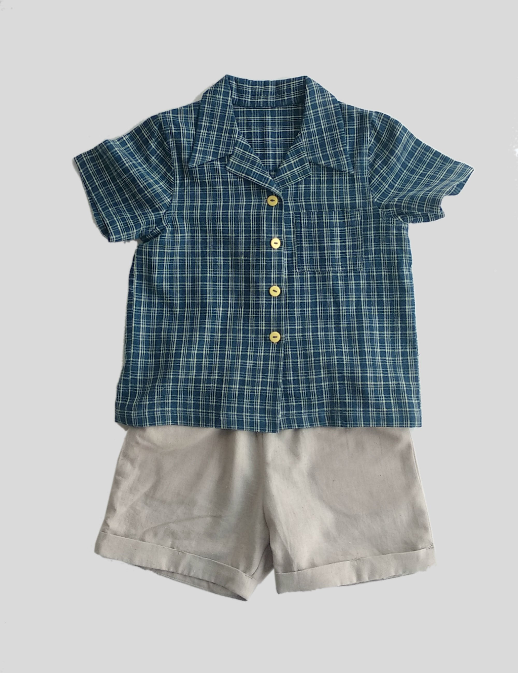 Convertible Collar Shirt Set with Half Sleeves in Indigo with Grey Shorts for Boys