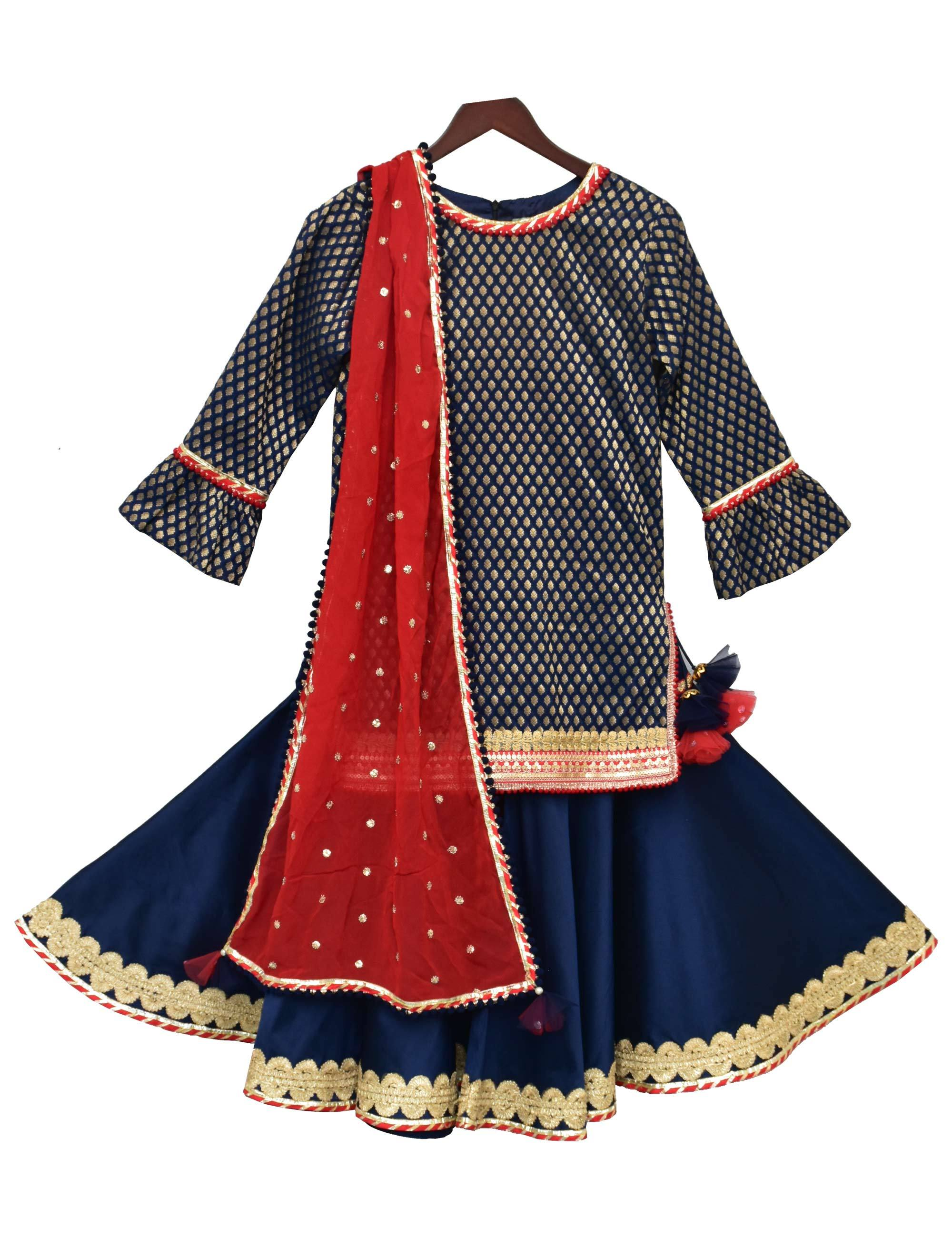 Blue Brocade Kurti with Sharara & Dupatta for Girls