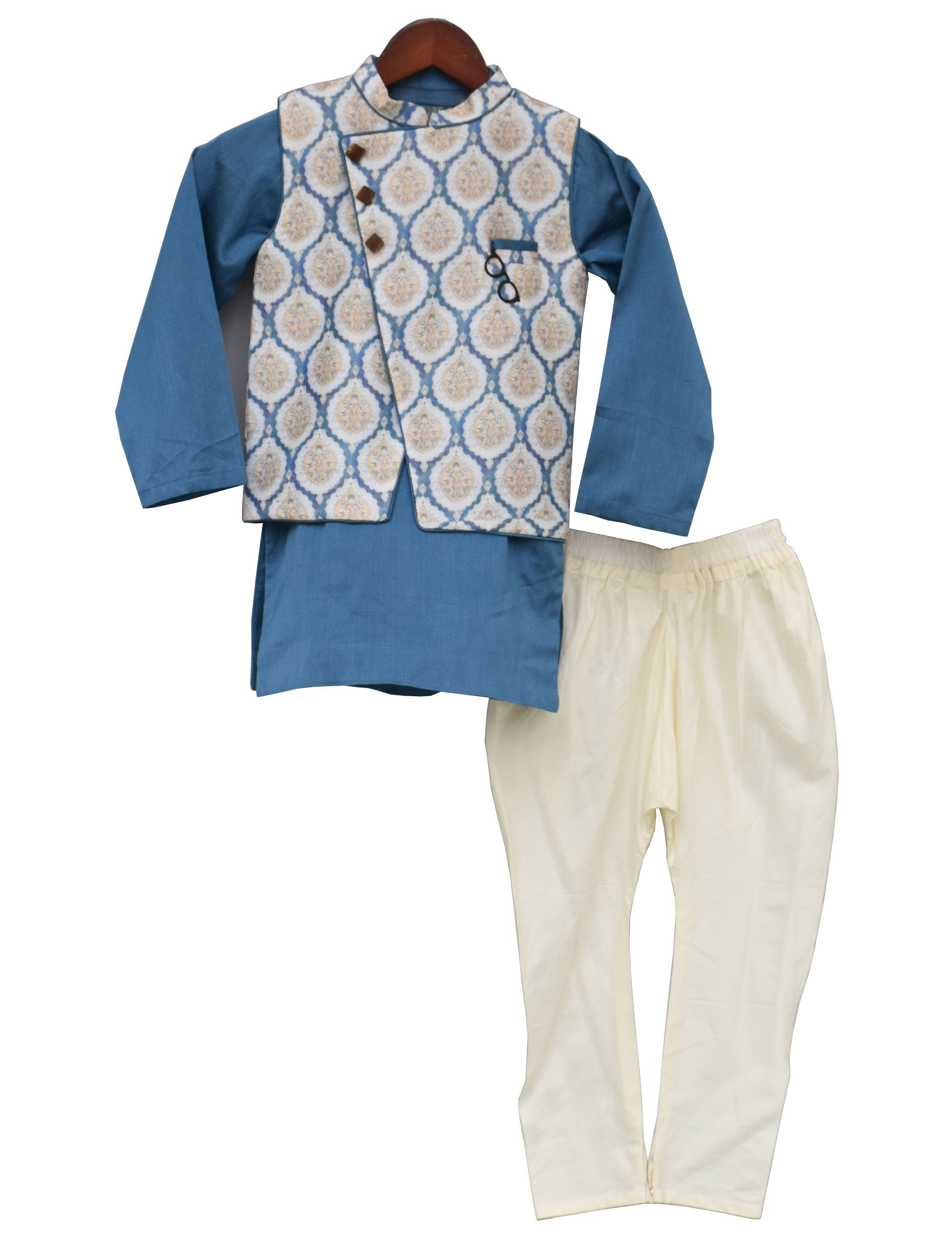 Blue Chanderi Printed Nehru Jacket Set for Boys