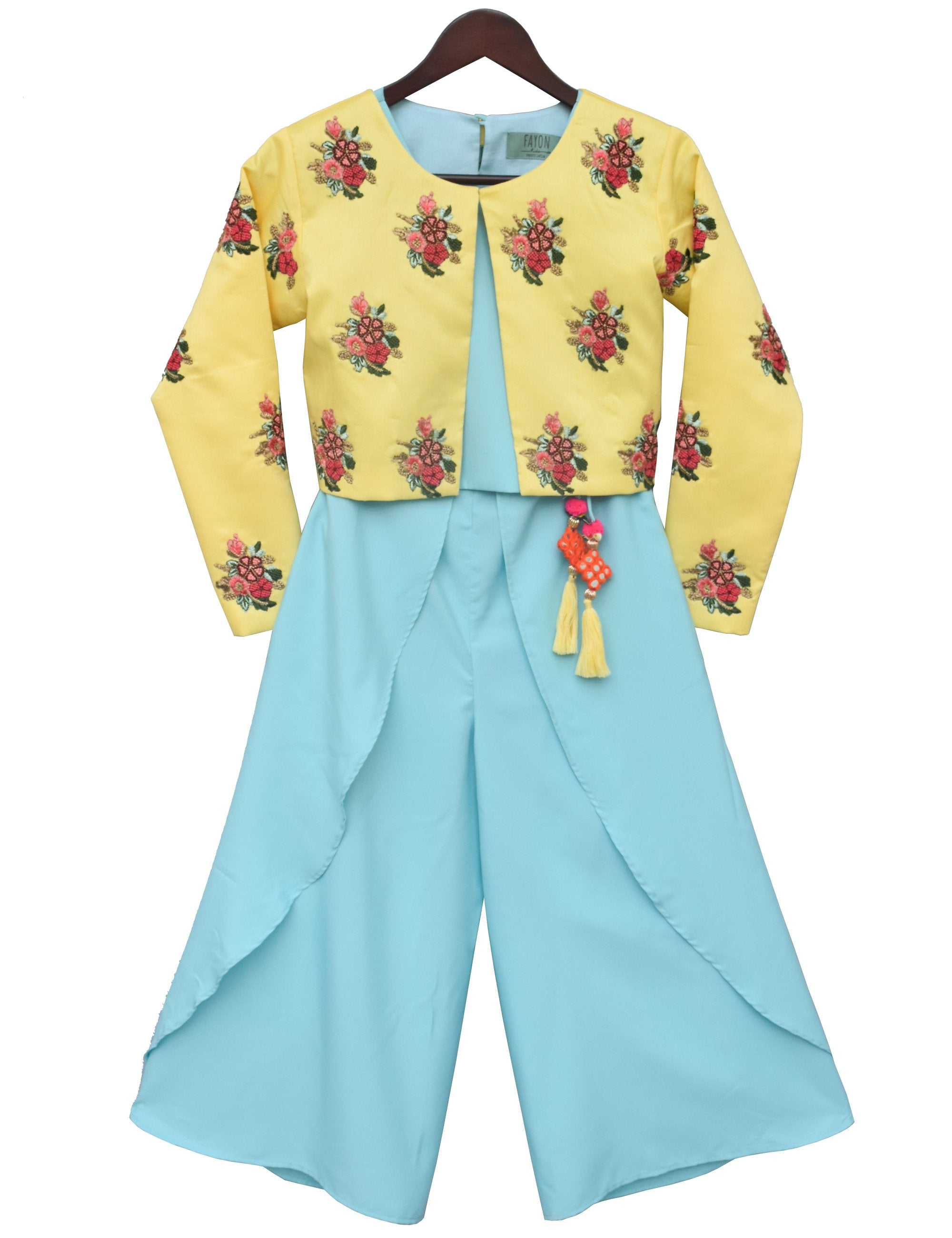 Blue Crop Top Dhoti with Yellow Embroidery Jacket