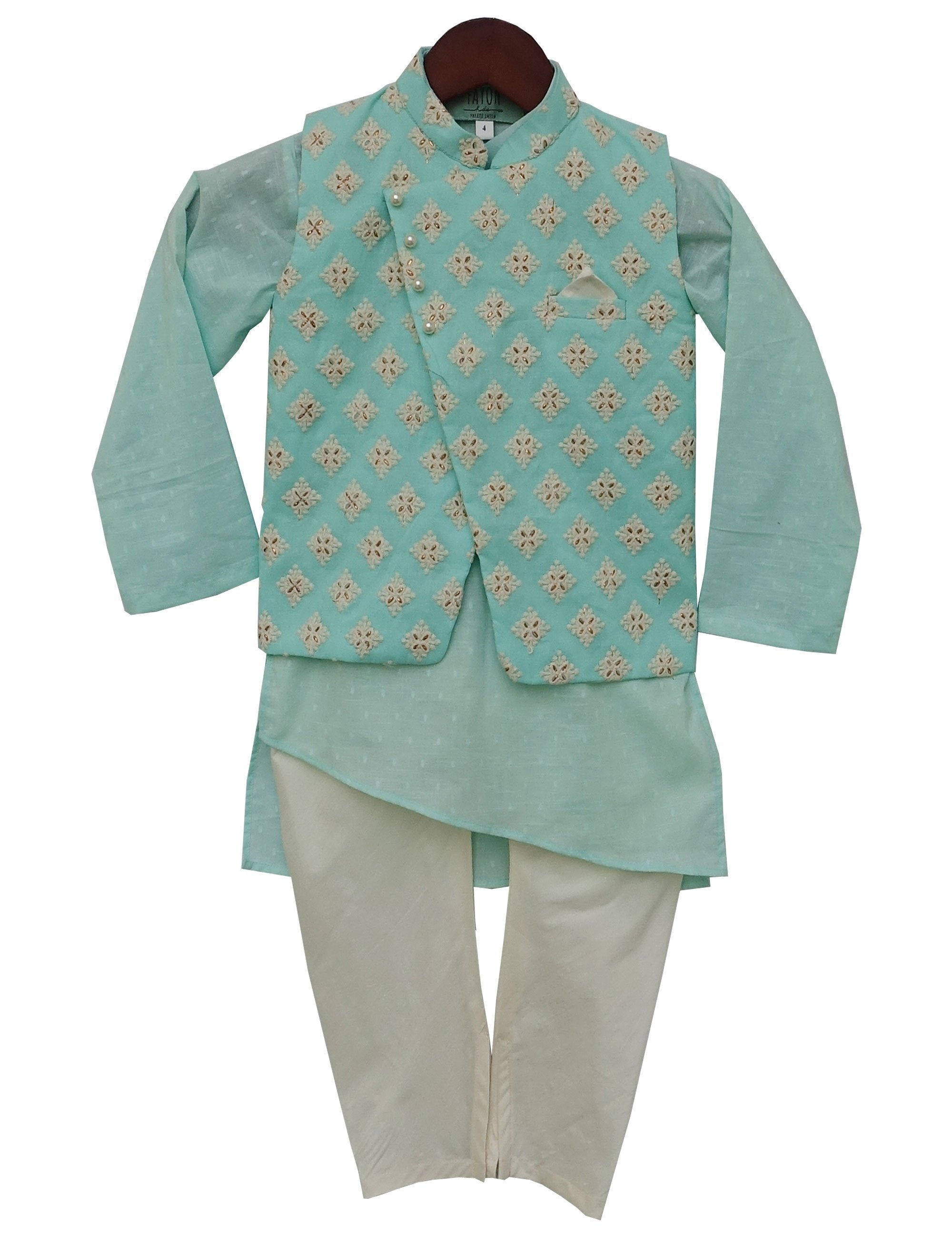 Blue Embroidery Nehru Jacket with Kurta and Churidar