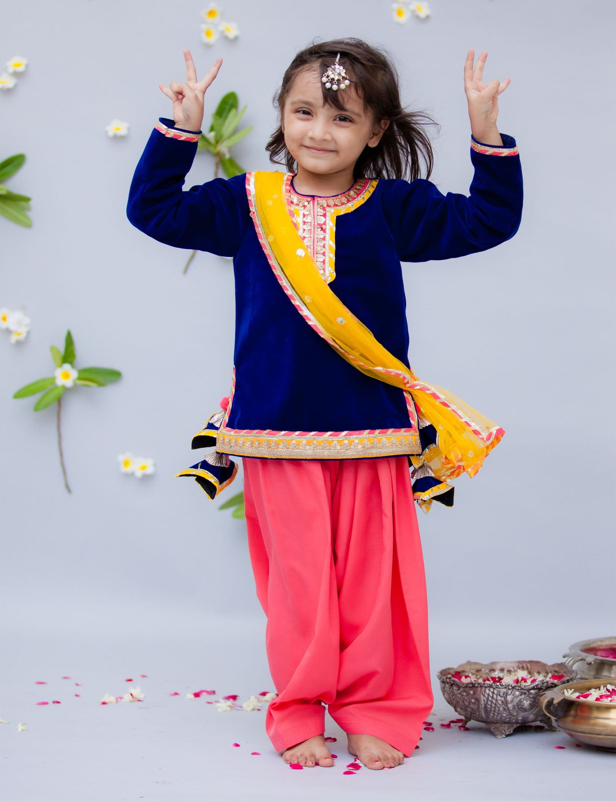 Blue Velvet Kurti with Salwar.