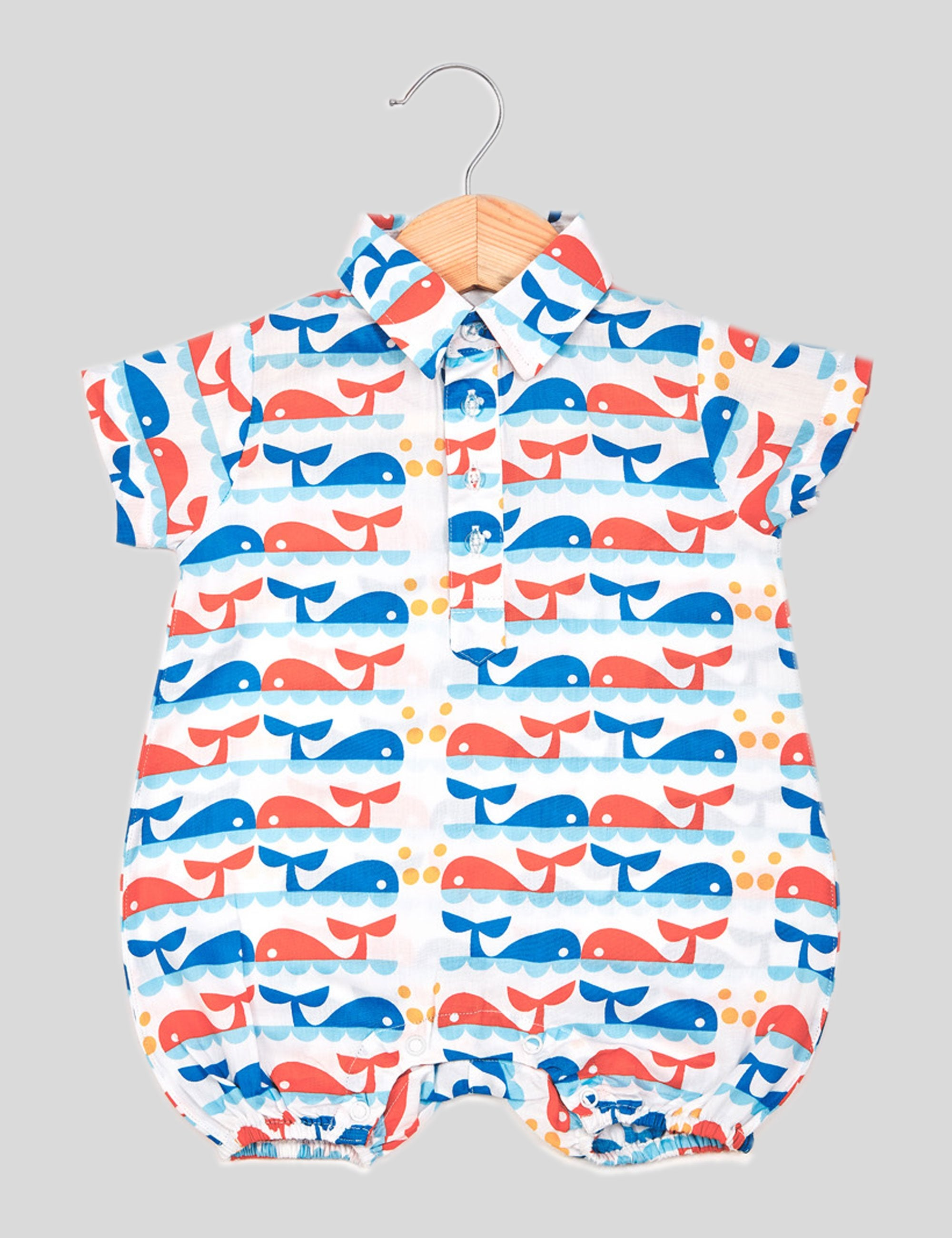 Dolphin Cotton Romper in White and Blue for Boys