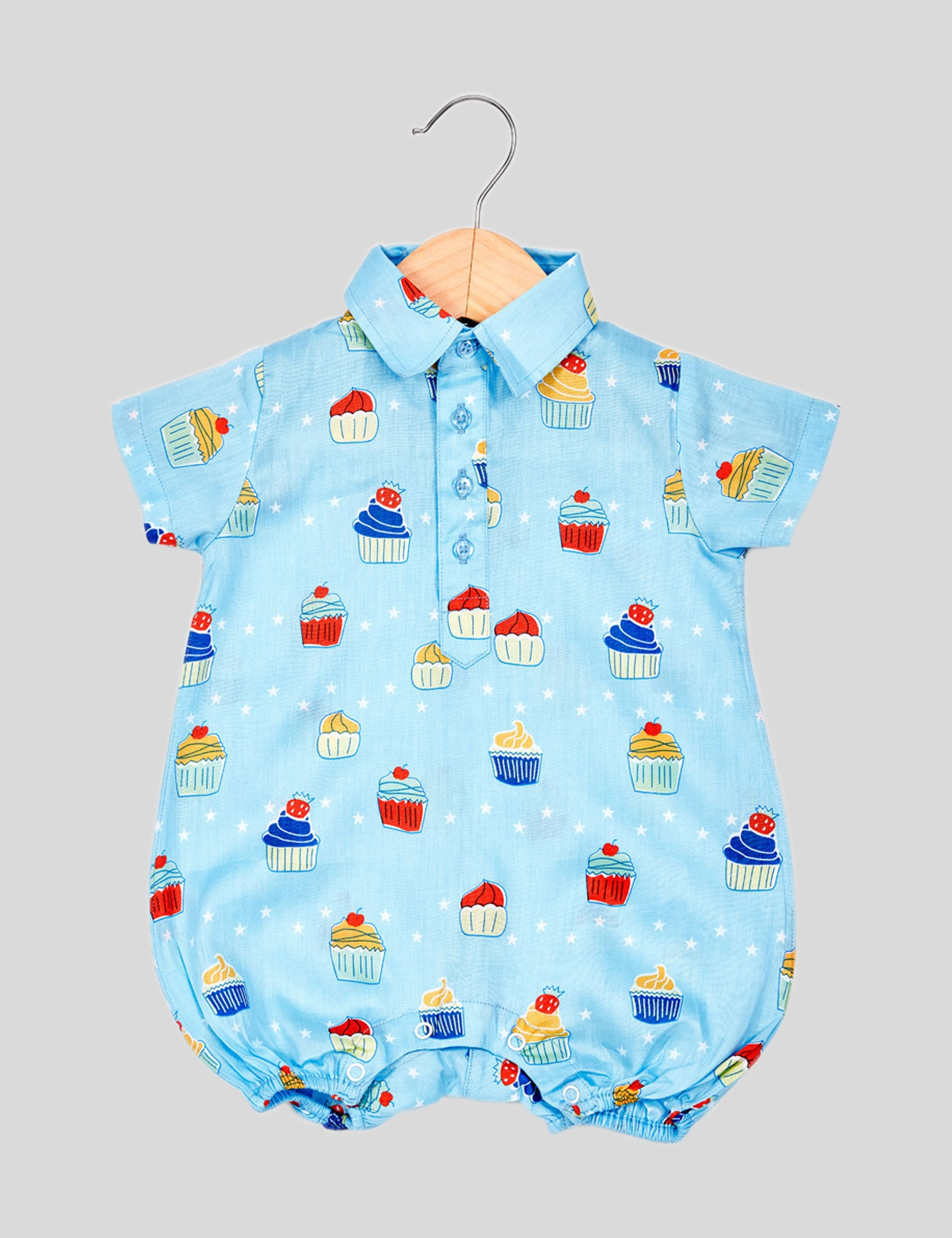 Muffin Cotton Romper in Blue for Boys