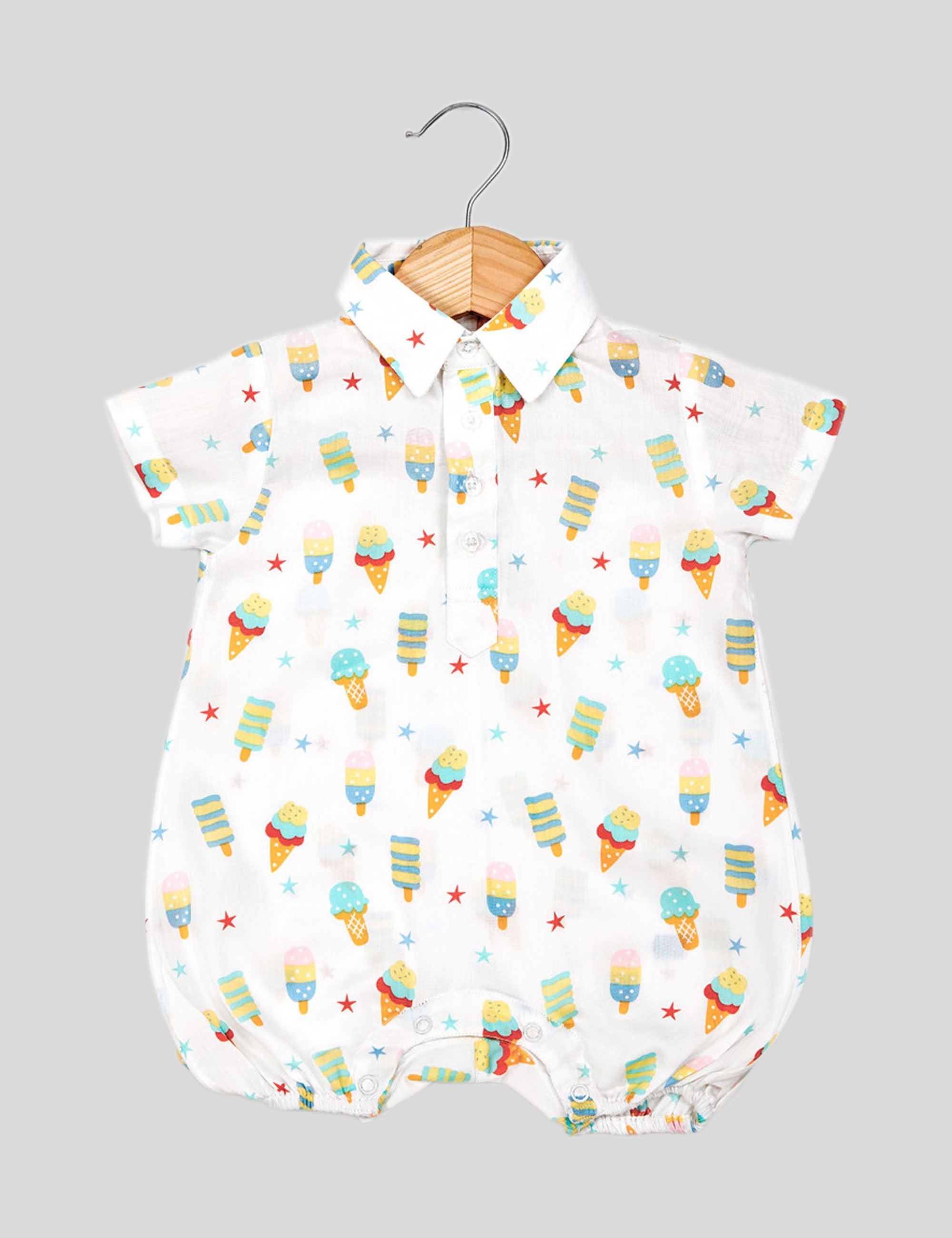 Printed Canycone Romper in White for Boys