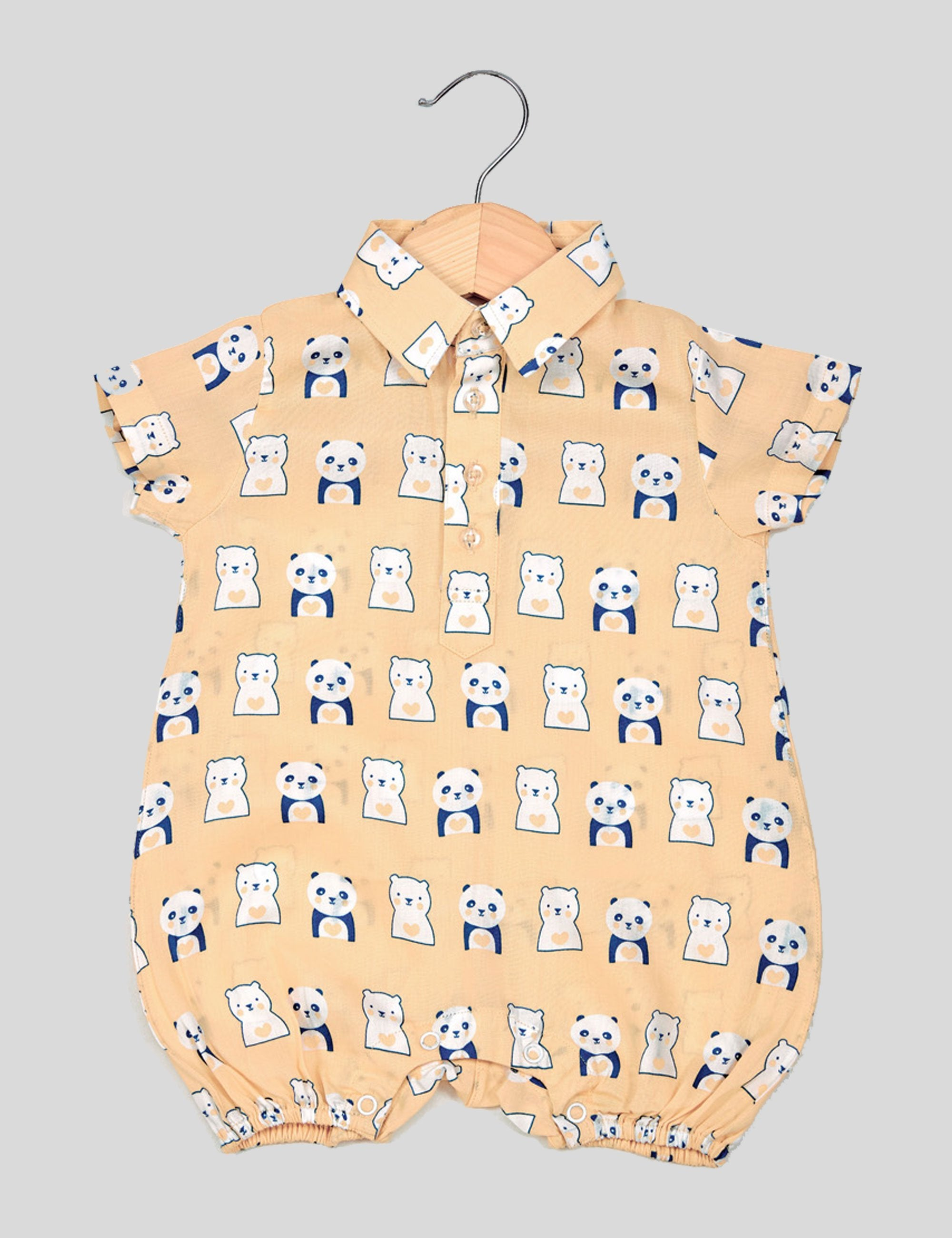 Panda Bear Romper in Peach and Blue for Boys