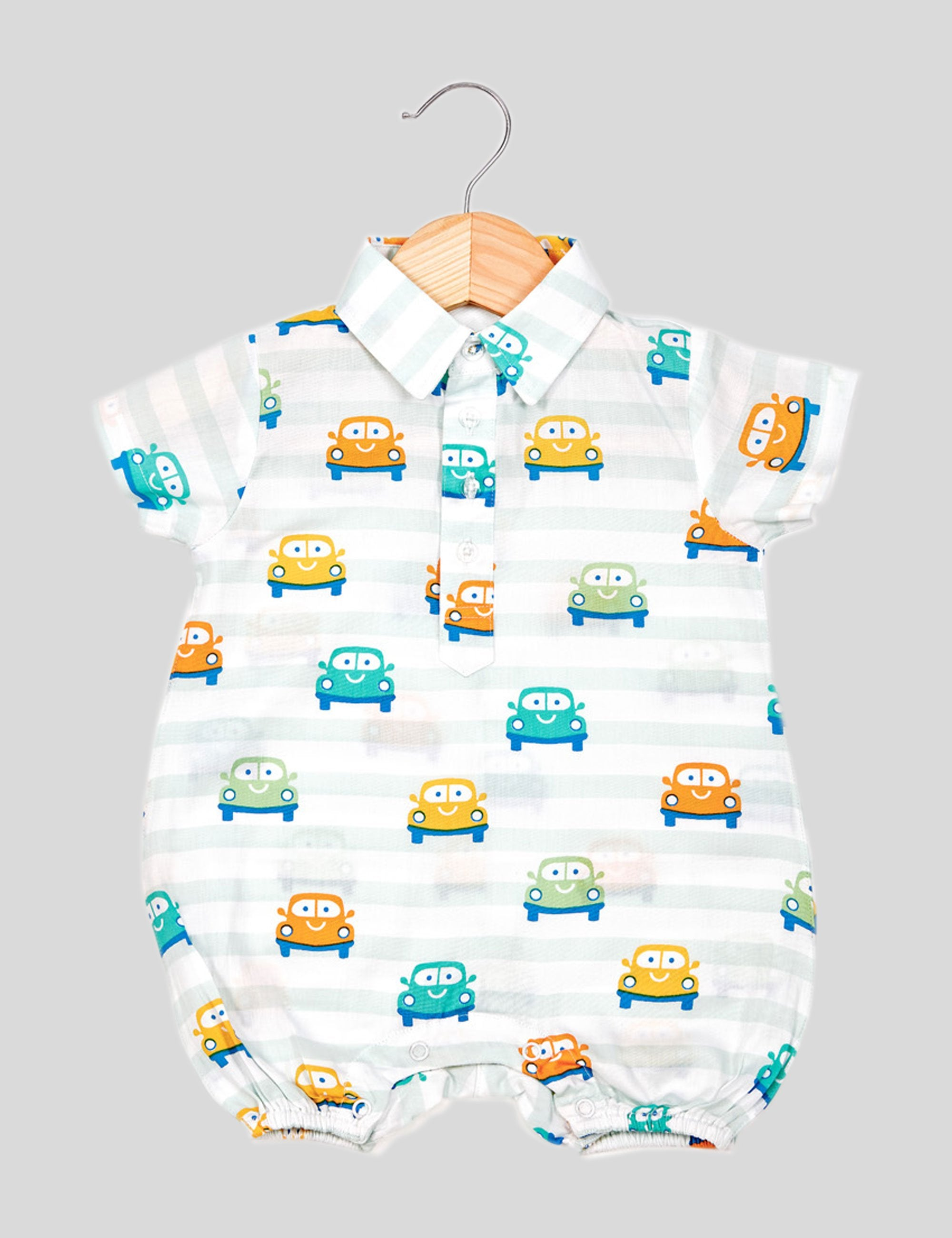 Smiley Car Romper in White and Blue for Boys