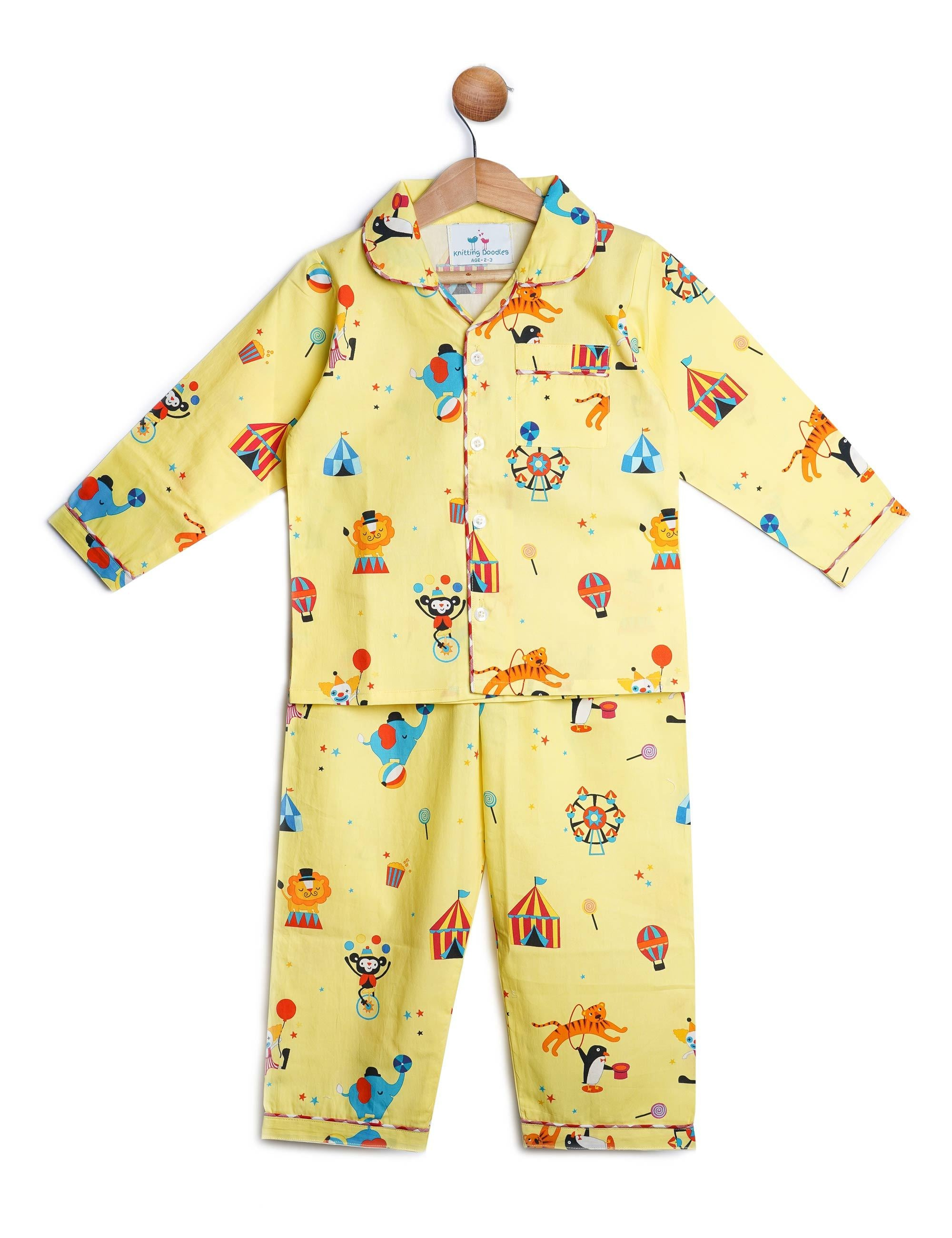 Animal Carnival Print Night Suit for Boys and Girls