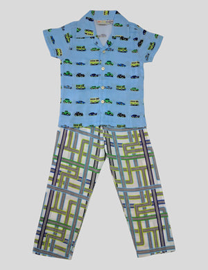 Transport Print Cotton Night Wear in Multi-Colour for Boys (Half Sleeves)