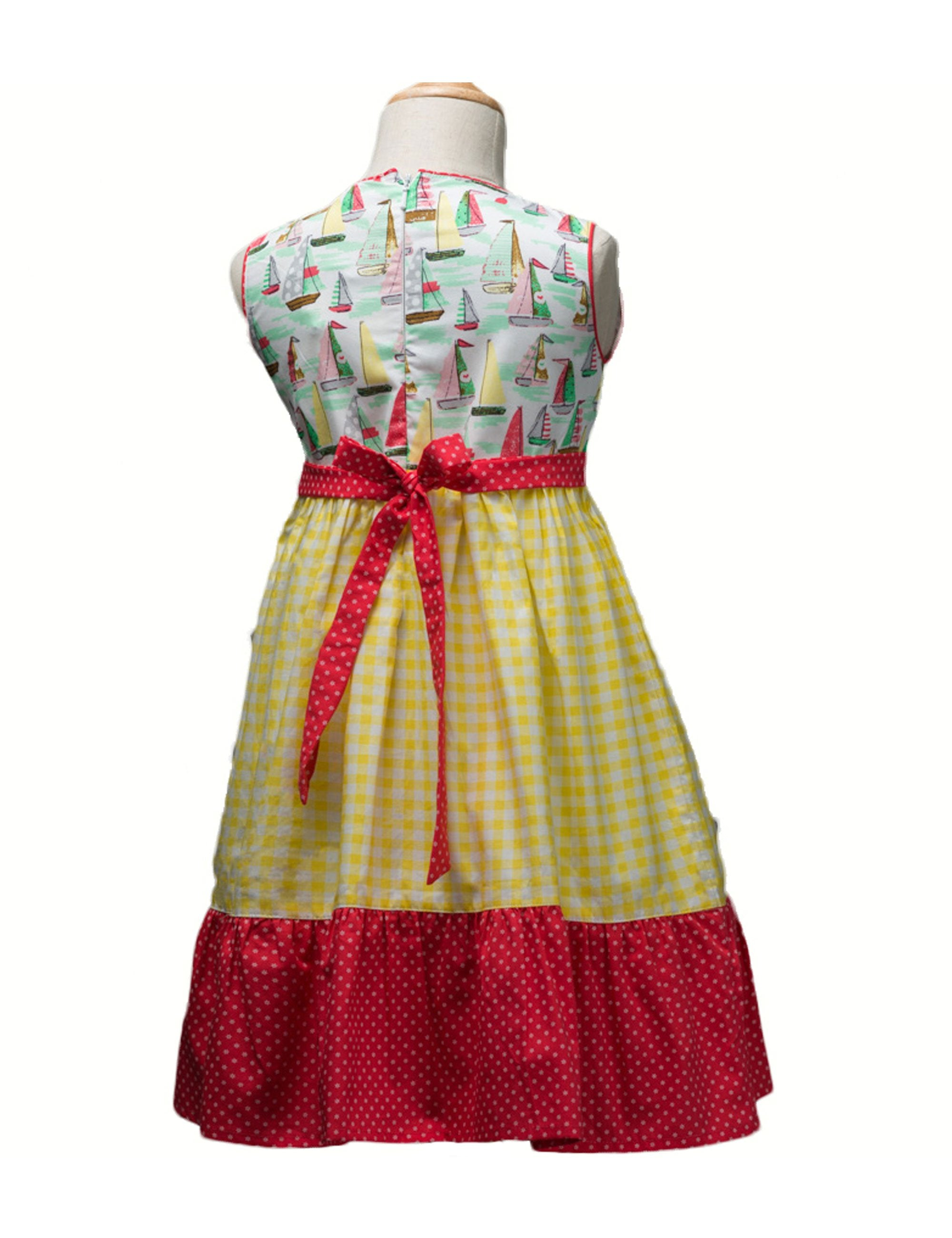 Fit and Flare Tiered Frock in Red & Yellow Colour for Girls