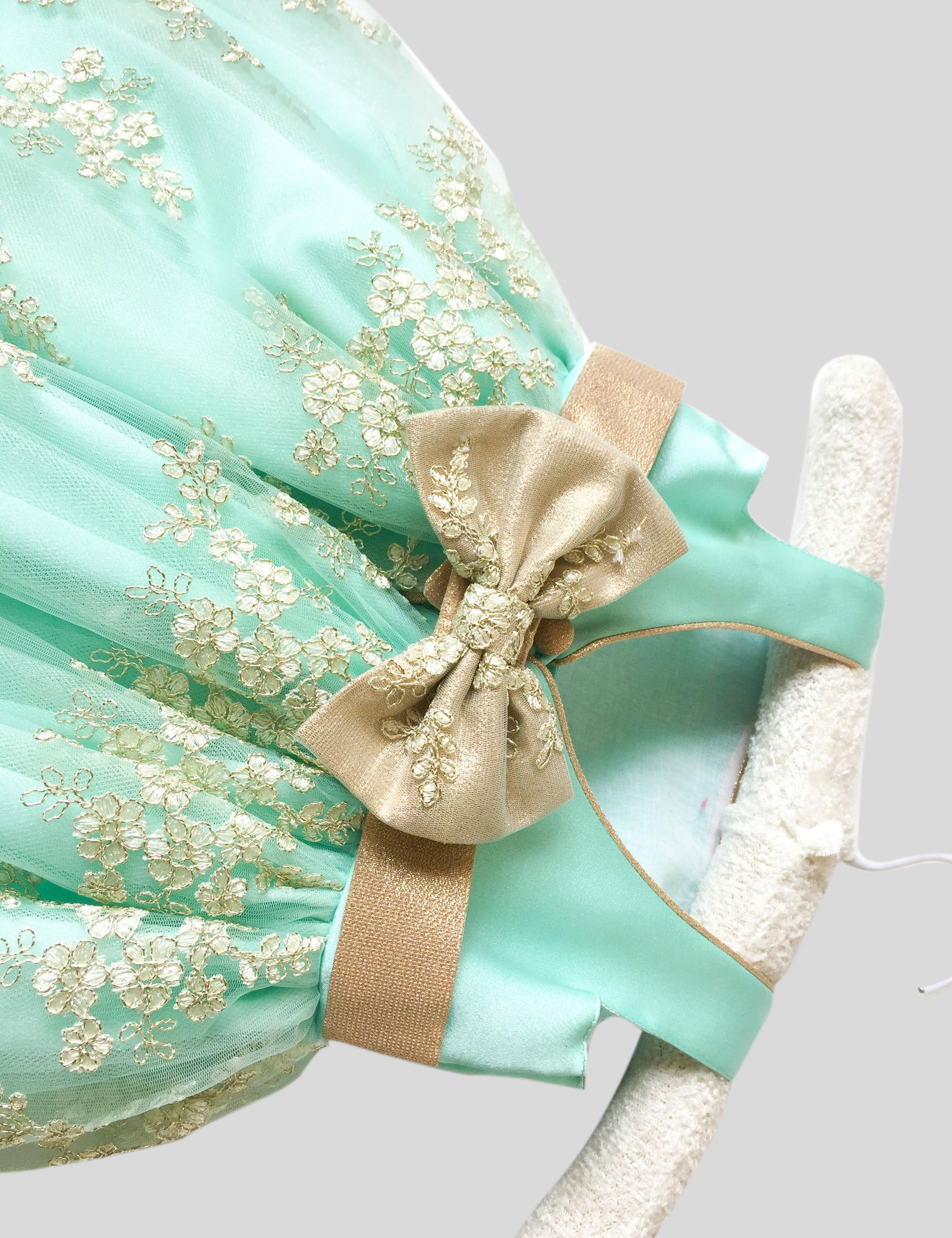 Chantelle Gown in Green and Gold Colour for Girls
