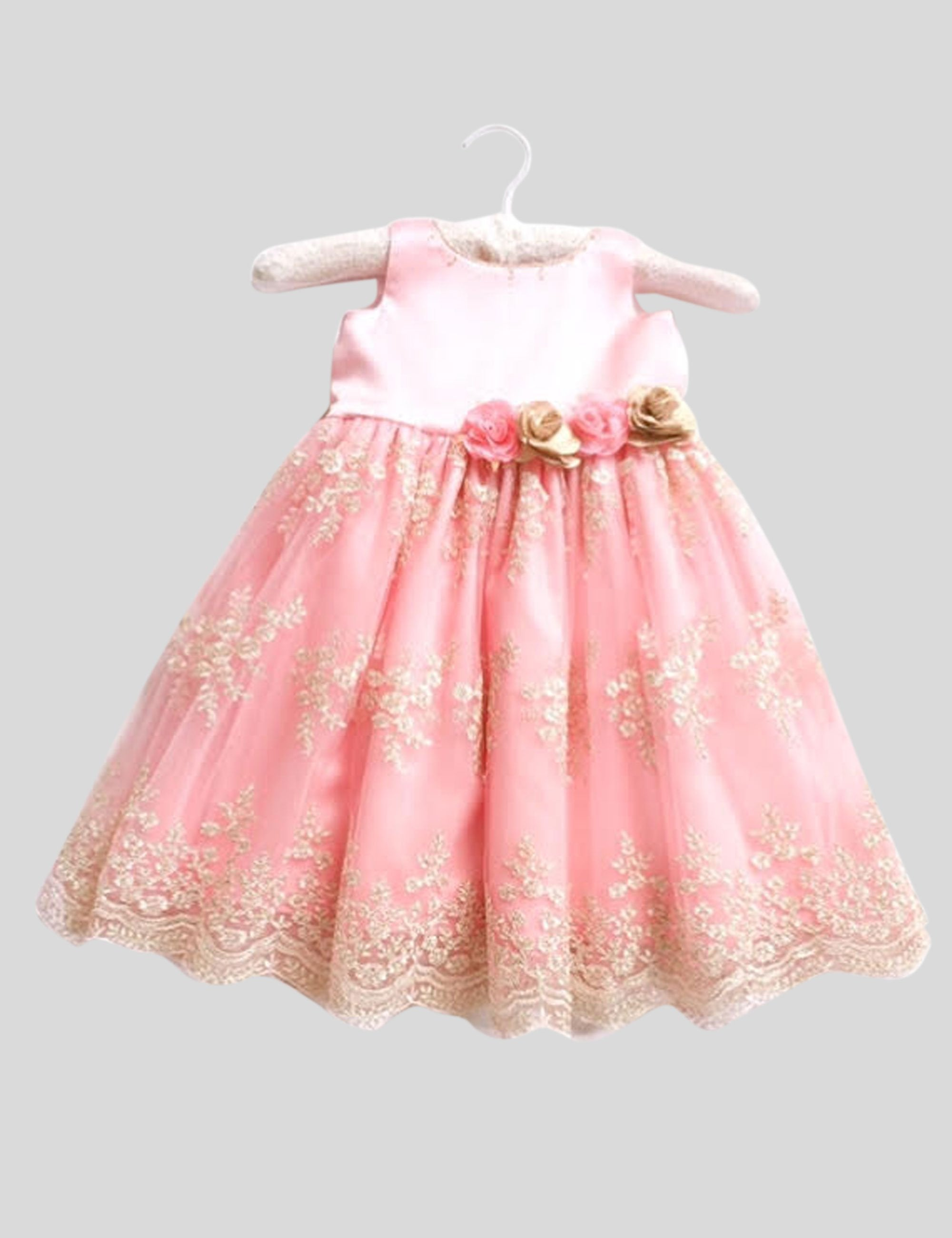 Chantelle Gown in Pink and Gold Colour for Girls