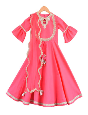 Anarkali Dress in Pink Colour for Girls