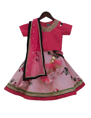 Embroidery Choli with Printed Lehenga in Coral Orange Colour for Girls